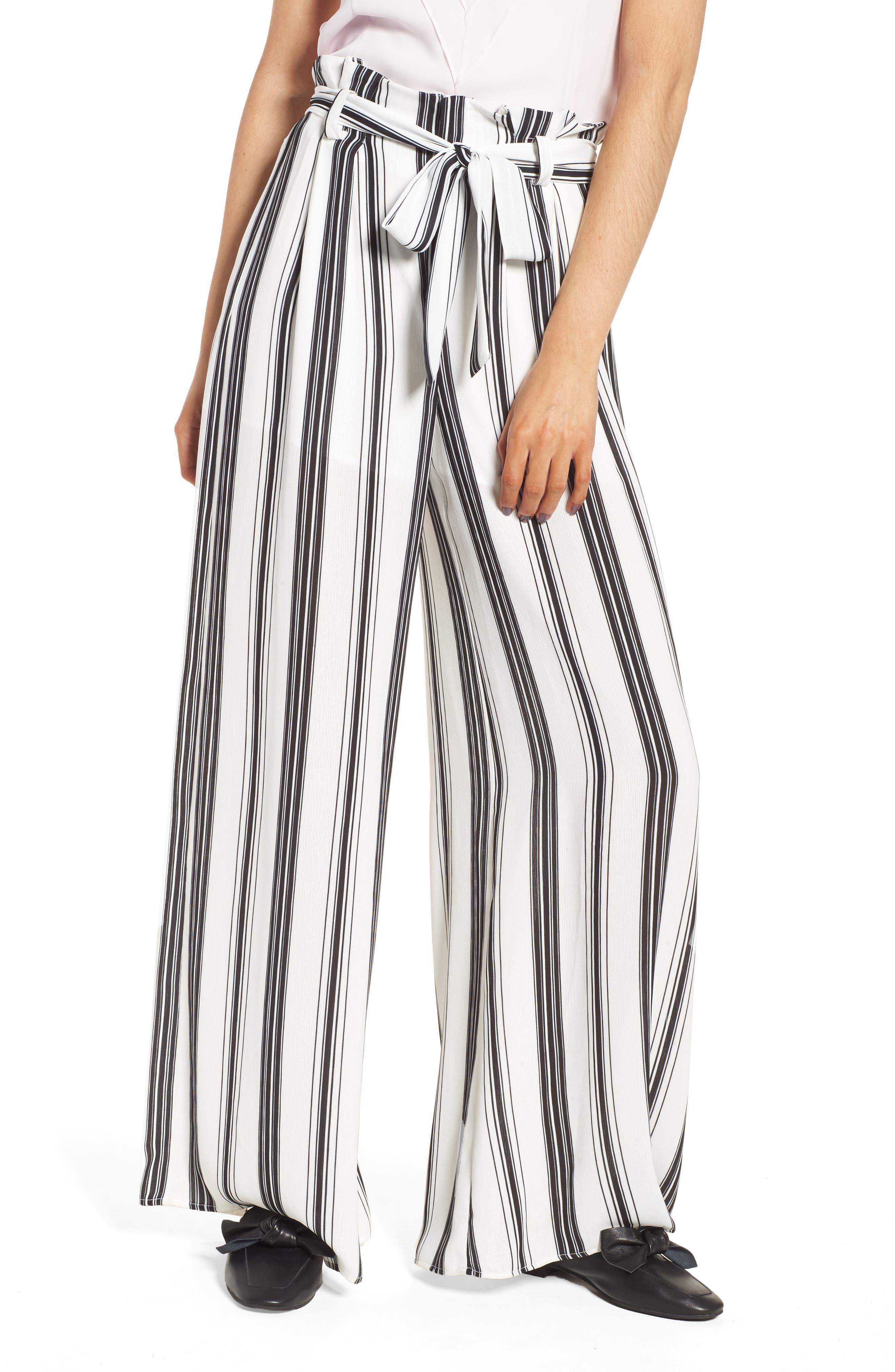 Paperbag Waist Wide Leg Crop Pants,                         Main,                         color, Black/ White Stripe
