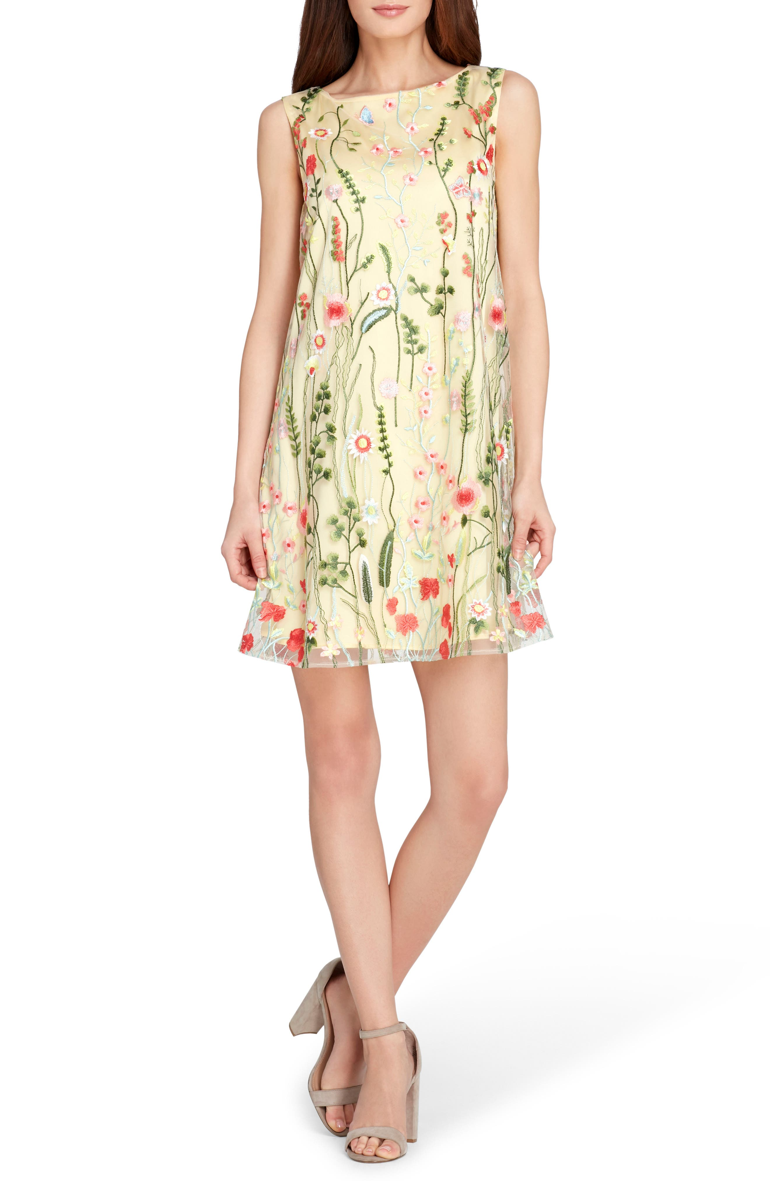 Embroidered Shift Dress,                             Main thumbnail 1, color,                             Gold/ Blush/ Green