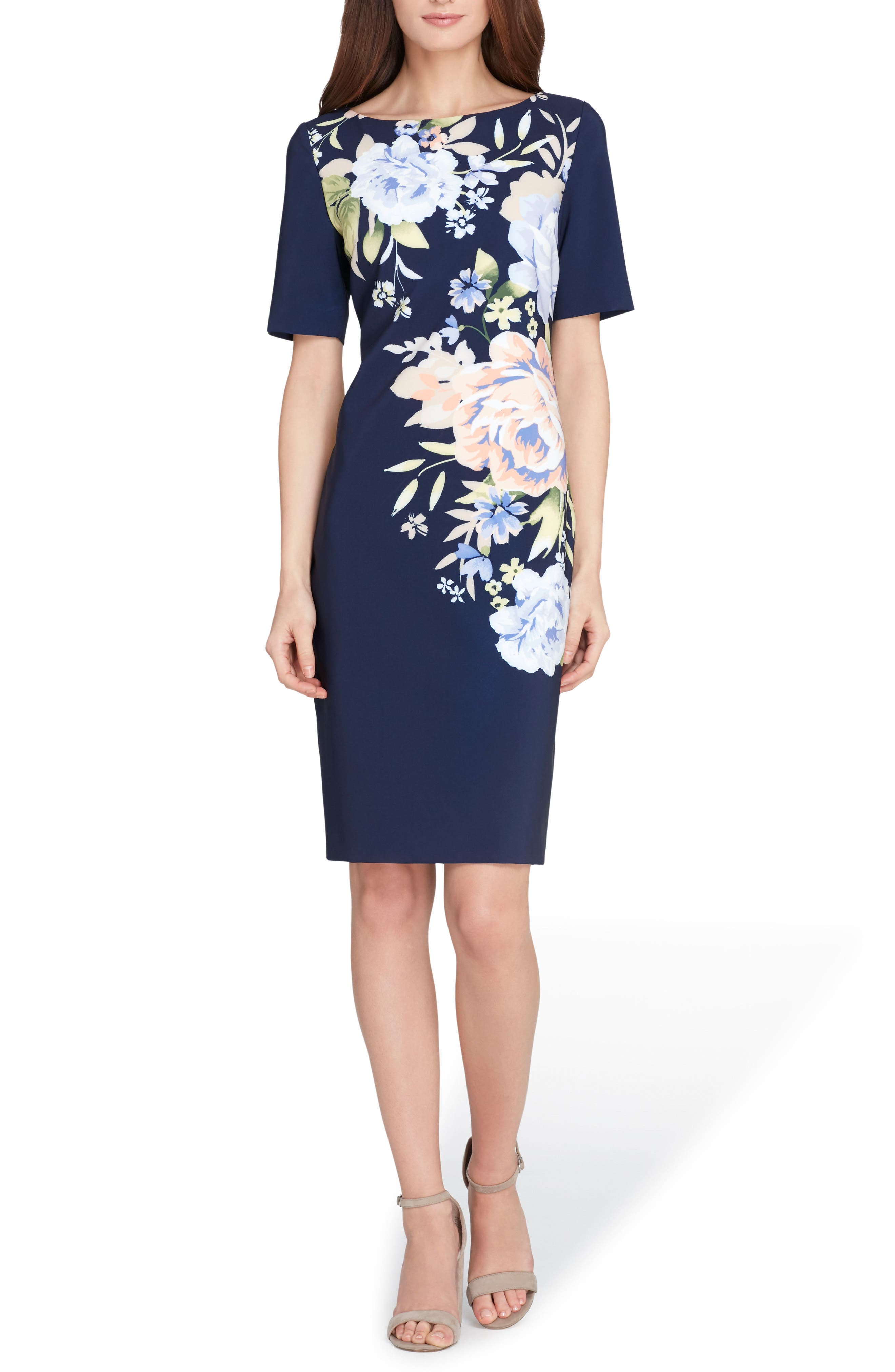 Floral Scuba Sheath Dress,                             Main thumbnail 1, color,                             Navy/ Lilac/ Peach