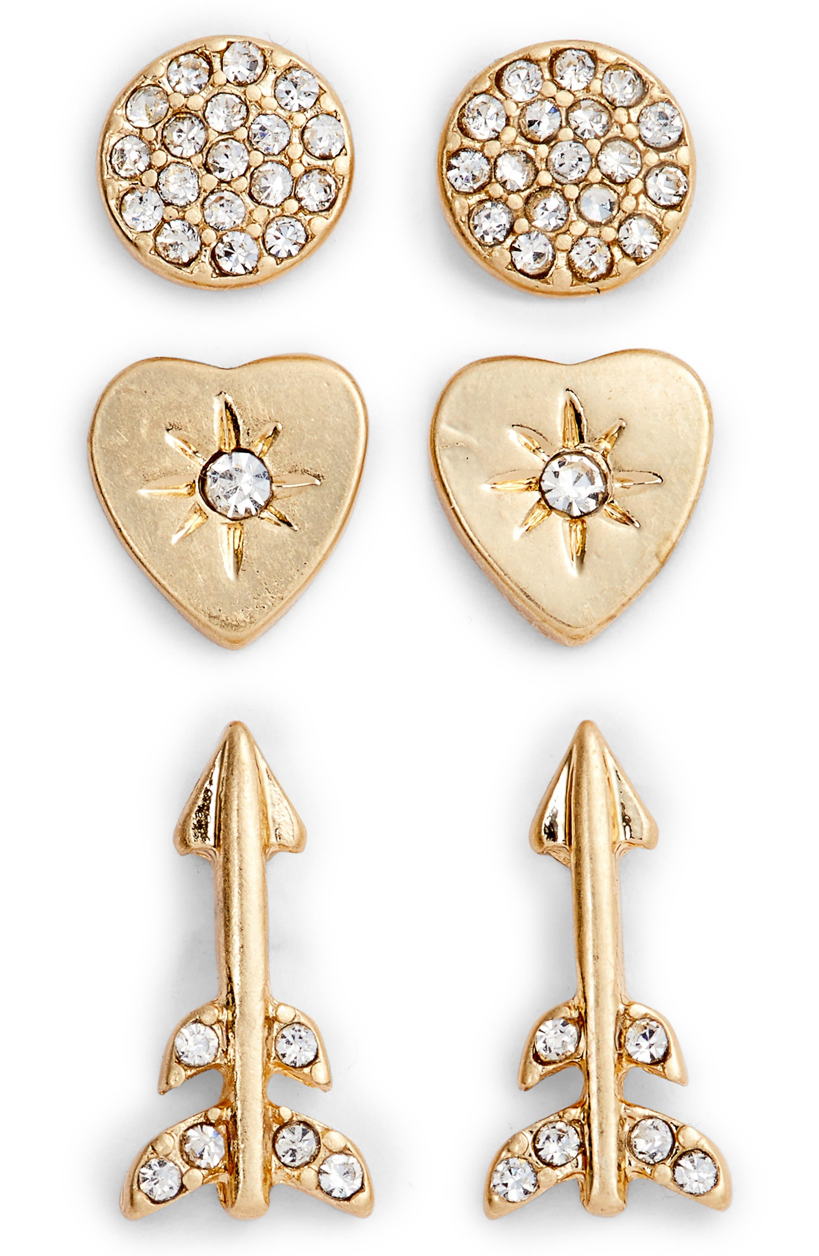 Treasure & Bond Arrow Stud Earrings Set of 3