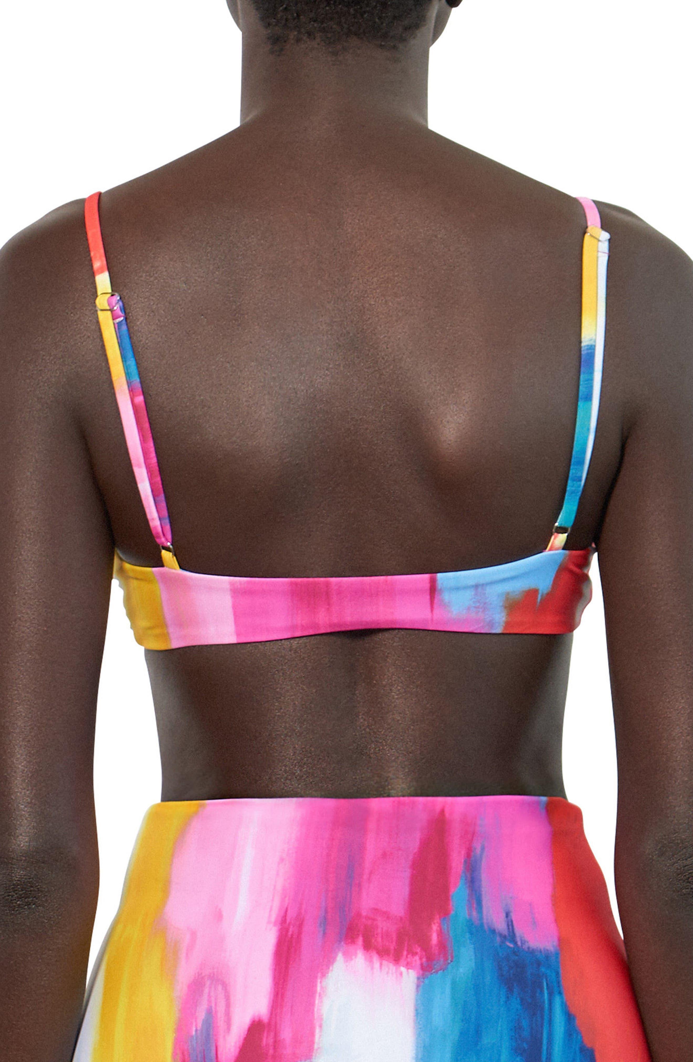 Carla Tie Front Bikini Top,                             Alternate thumbnail 2, color,                             Pink Multi