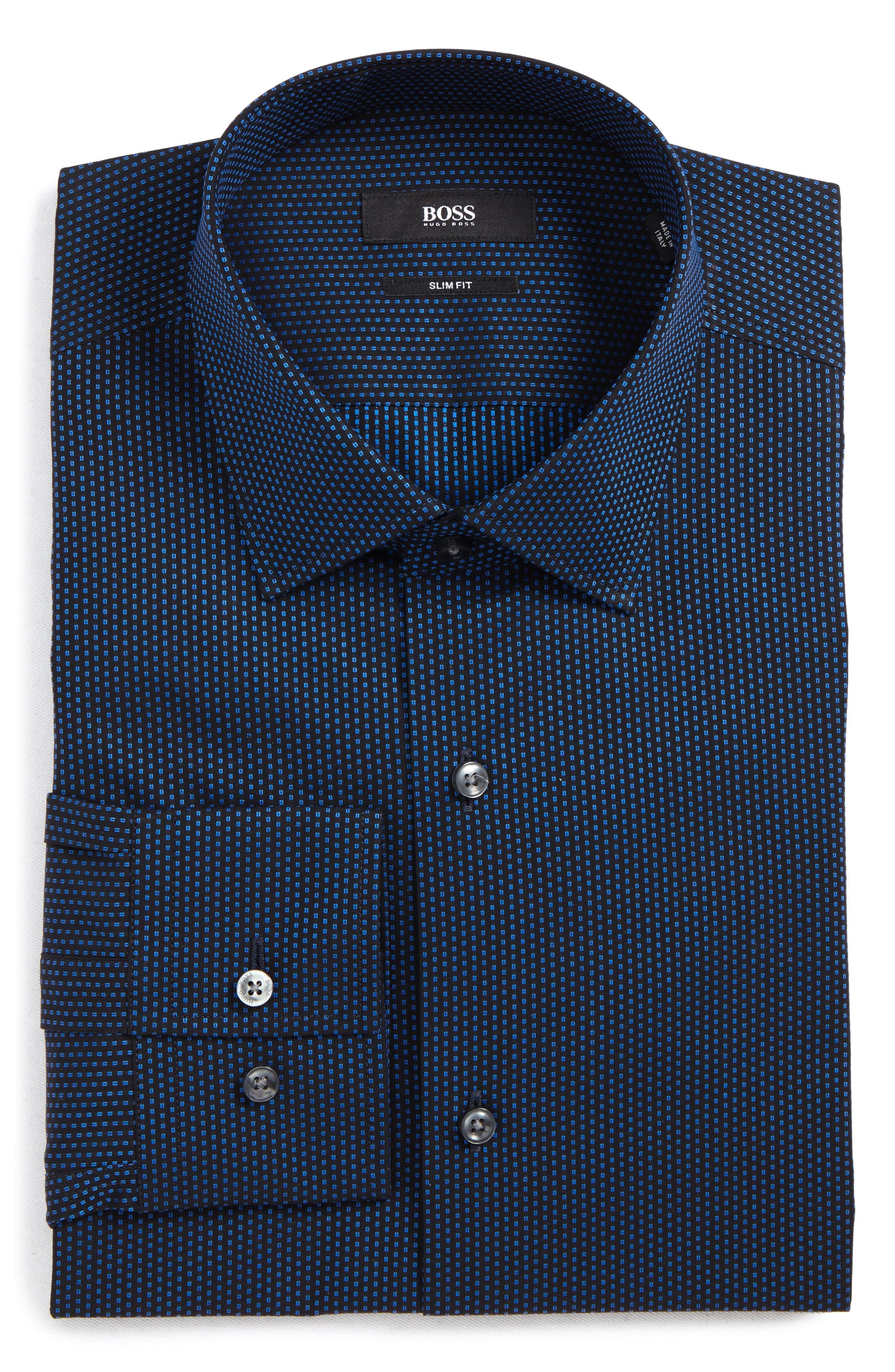 Jenno Slim Fit Print Dress Shirt,                         Main,                         color, Navy