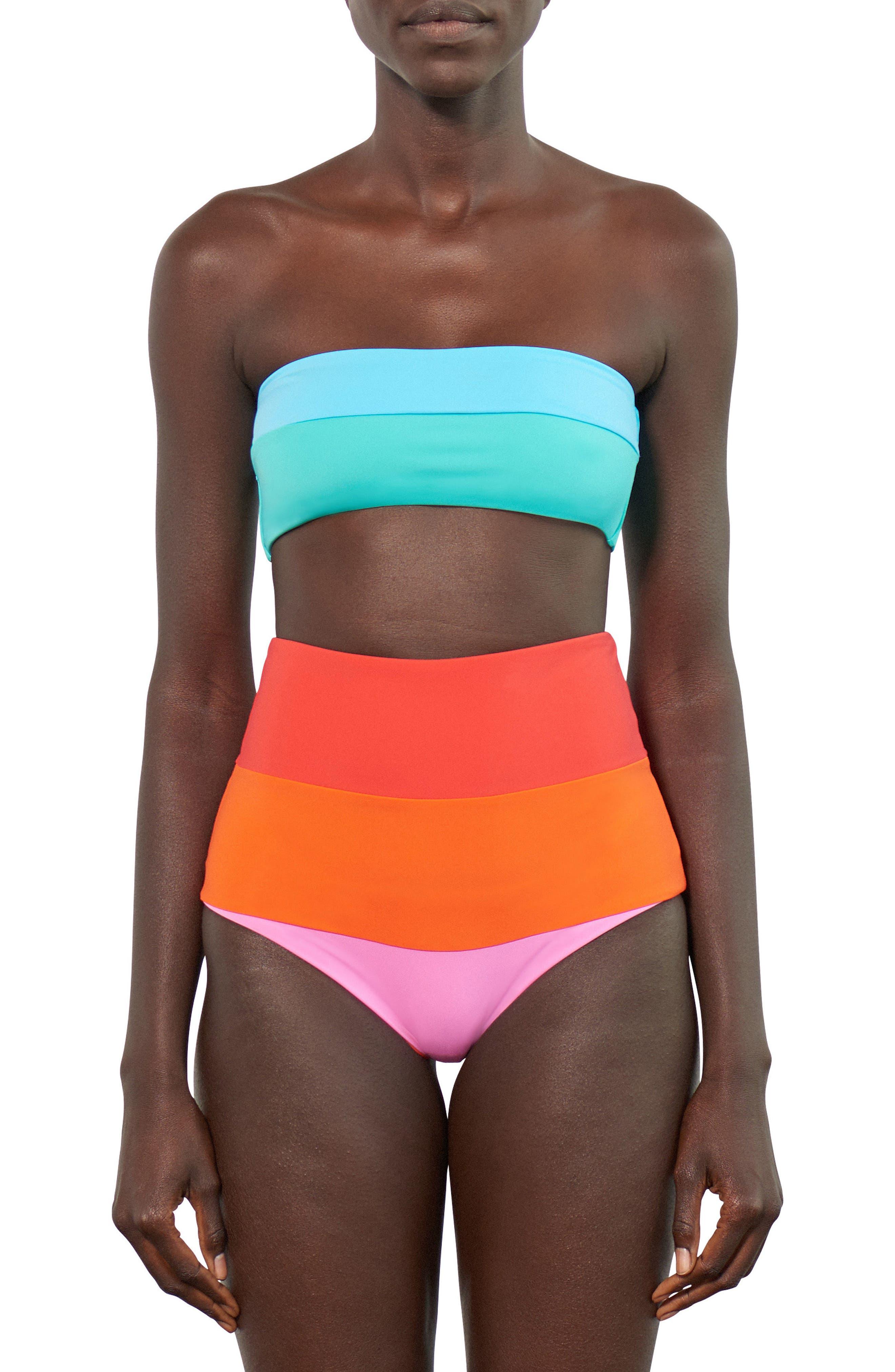 Lydia High-Waist Bikini Bottoms,                             Alternate thumbnail 3, color,                             Orange Multi