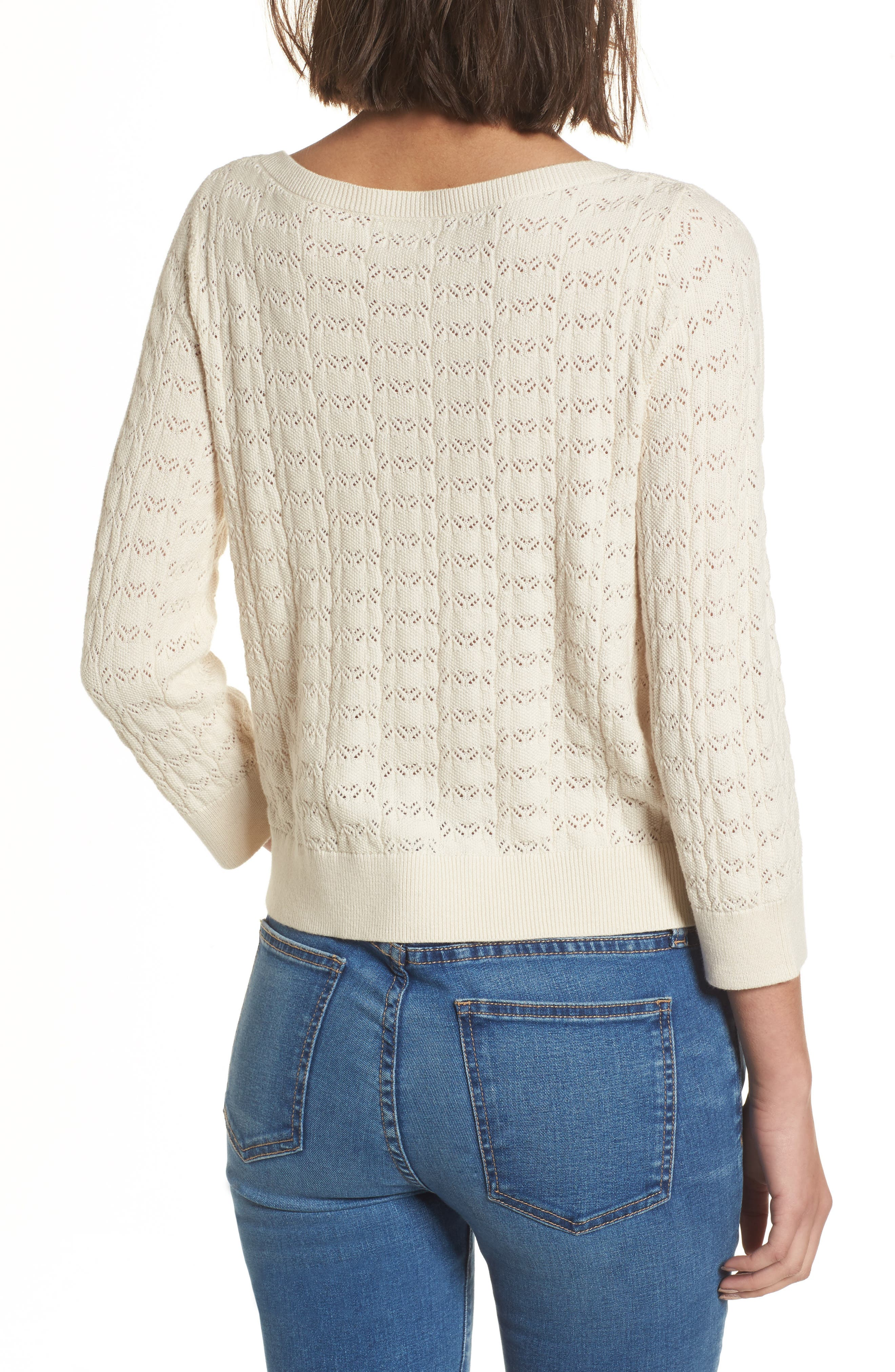 Pointelle Crop Sweater,                             Alternate thumbnail 2, color,                             Ivory Birch