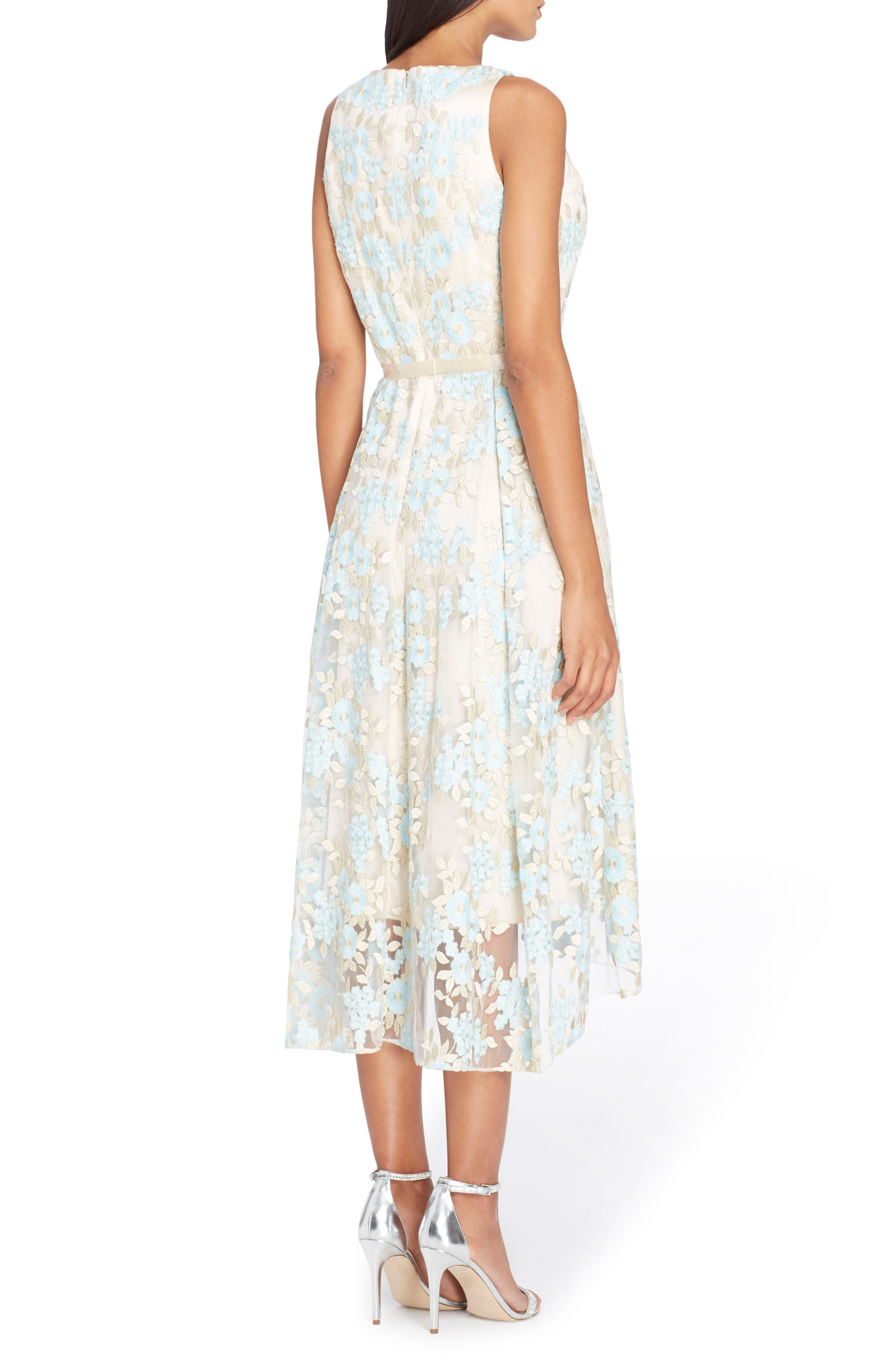 Floral Embroidered Dress,                             Alternate thumbnail 2, color,                             Nude/ Ice Blue/ Gold