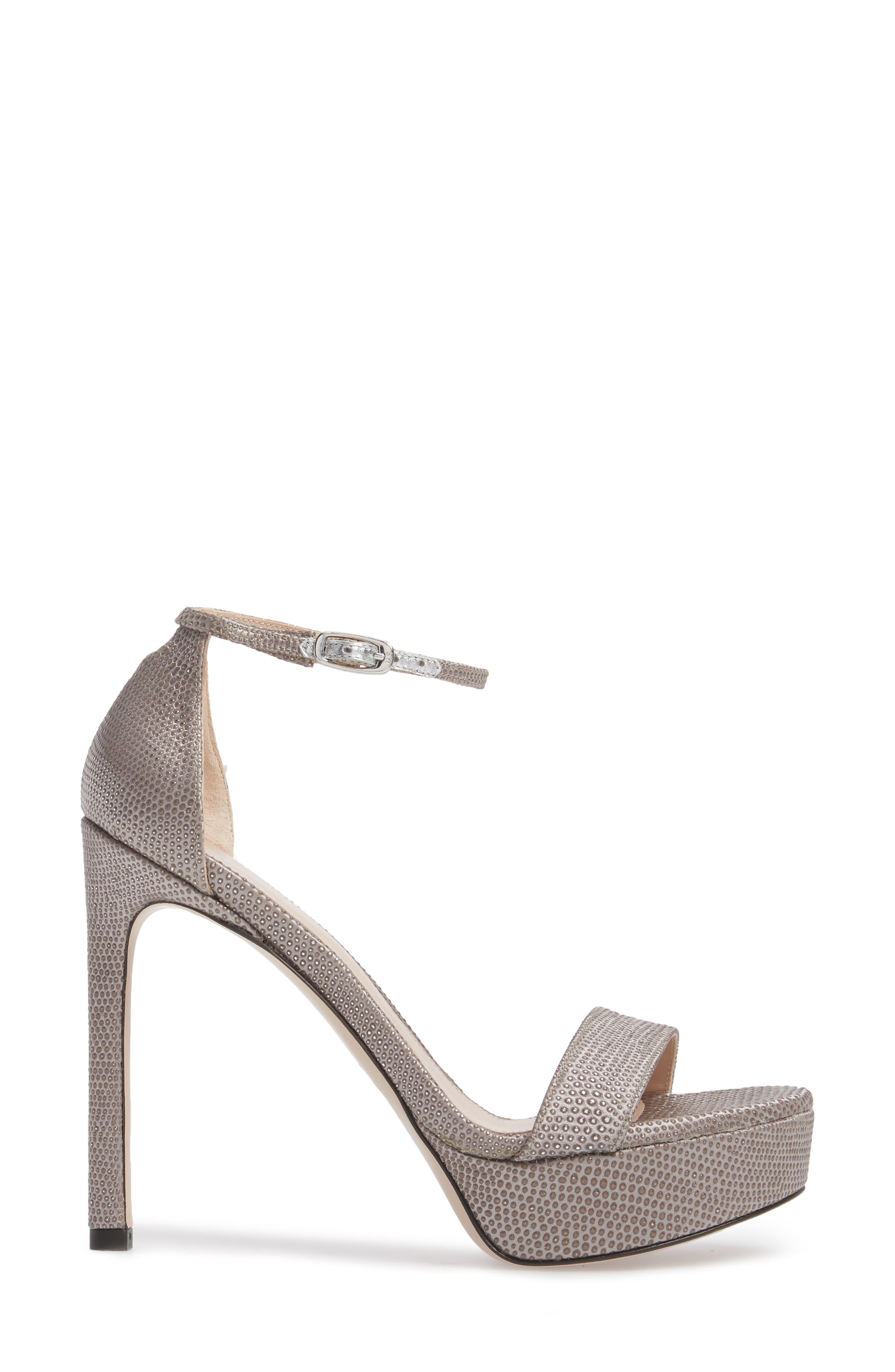 Stuart Weitzamn SOHOT Platform Sandal,                             Alternate thumbnail 3, color,                             Plata Crystaline