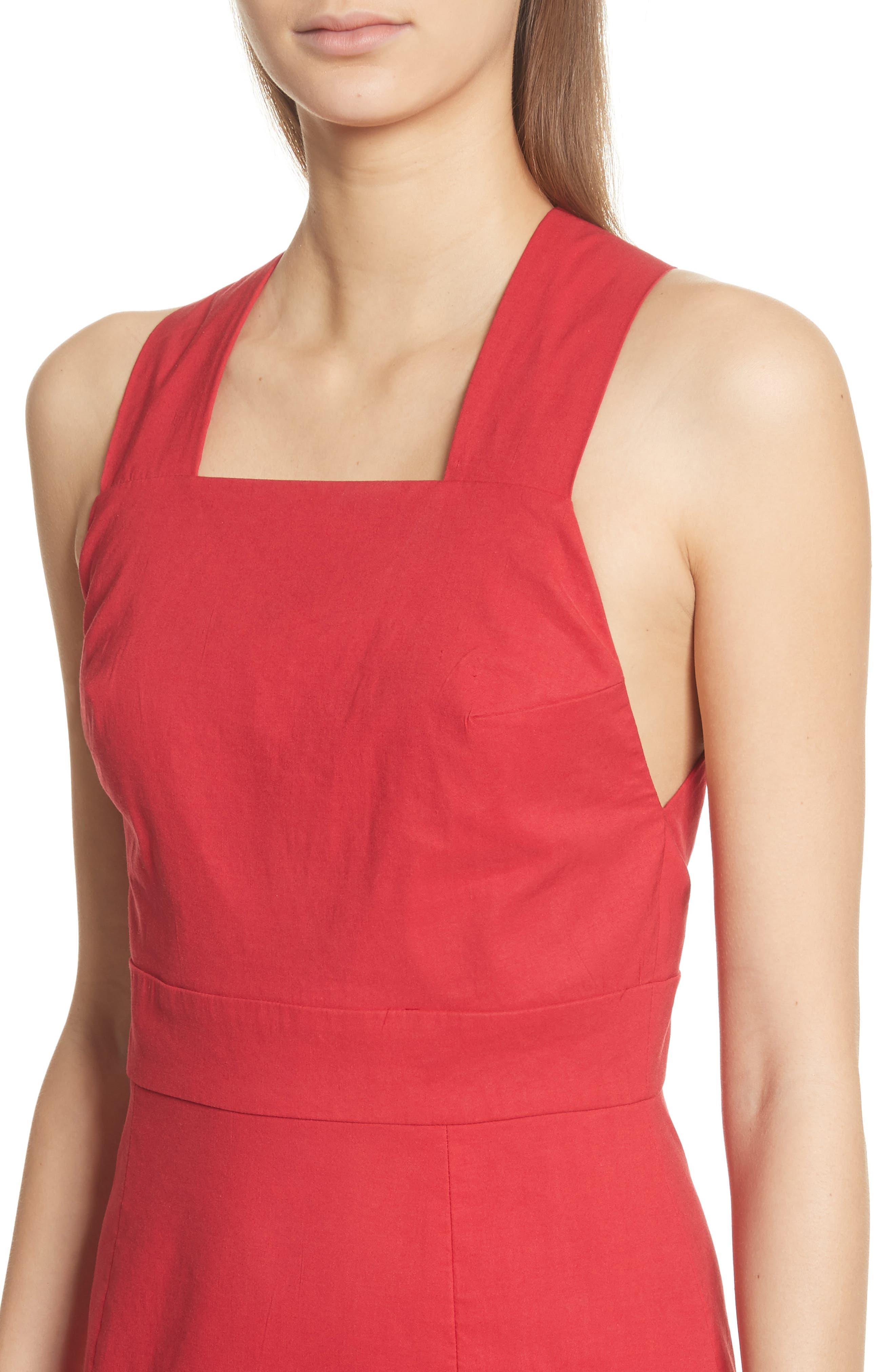 Cecily Cotton & Linen Blend Midi Dress,                             Alternate thumbnail 4, color,                             Red