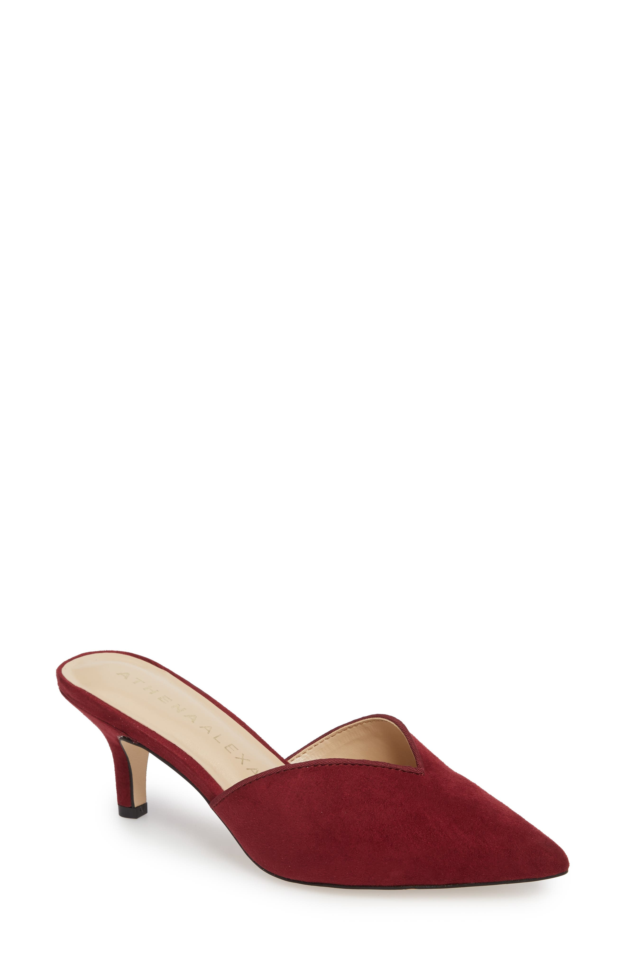 Jasper Pointy Toe Mule,                         Main,                         color, Wine Suede
