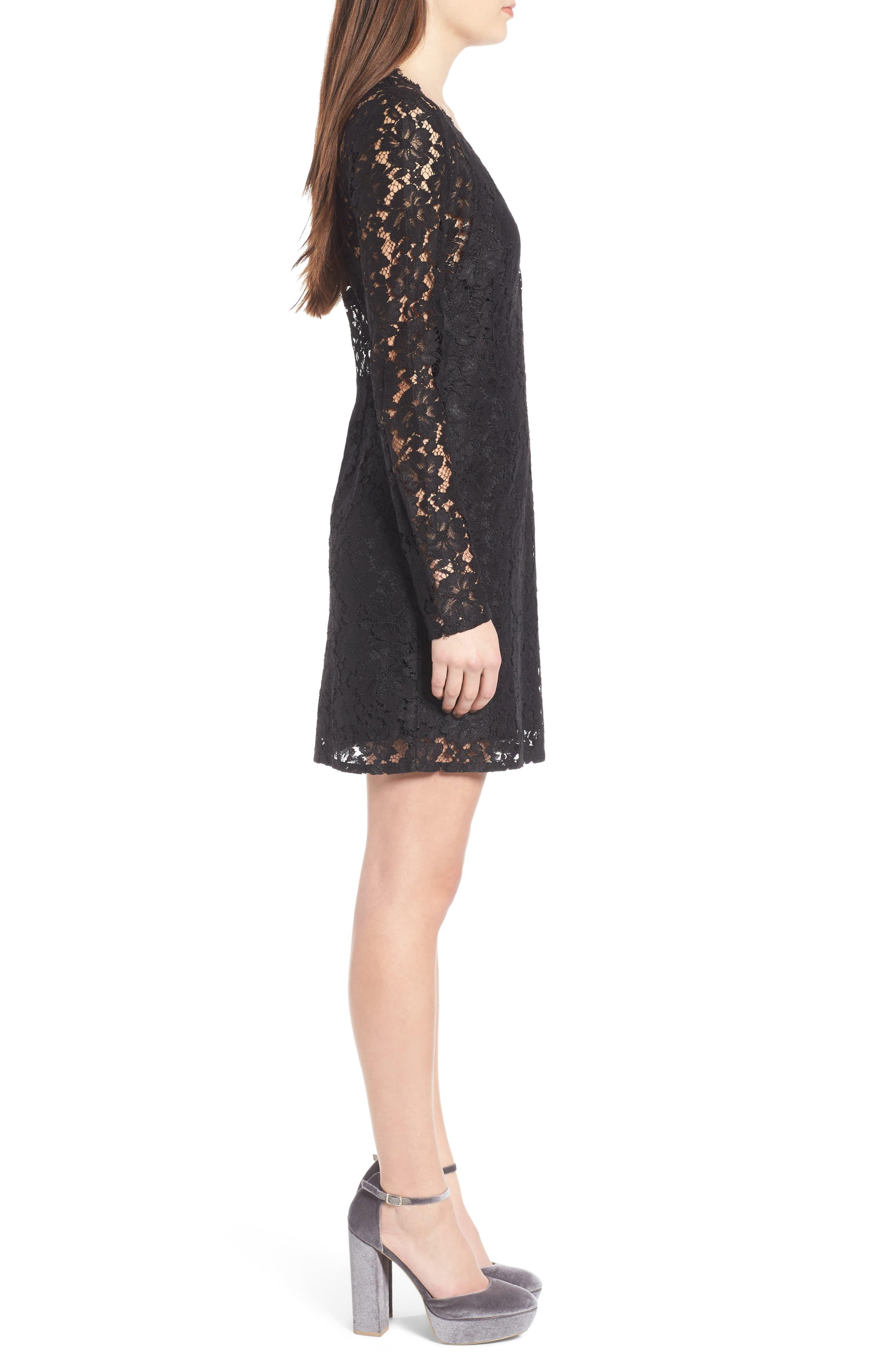 Say It Out Loud Lace Dress,                             Alternate thumbnail 3, color,                             Black