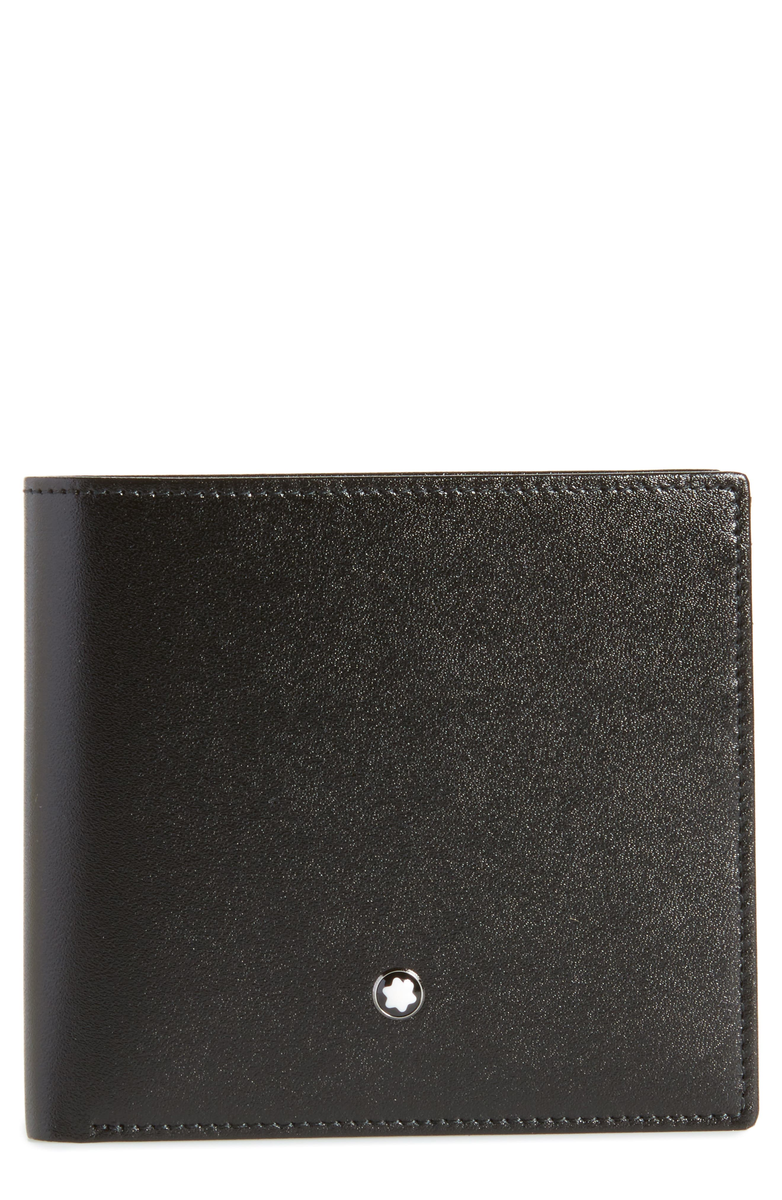 Meisterstück Leather Wallet,                             Main thumbnail 1, color,                             Black