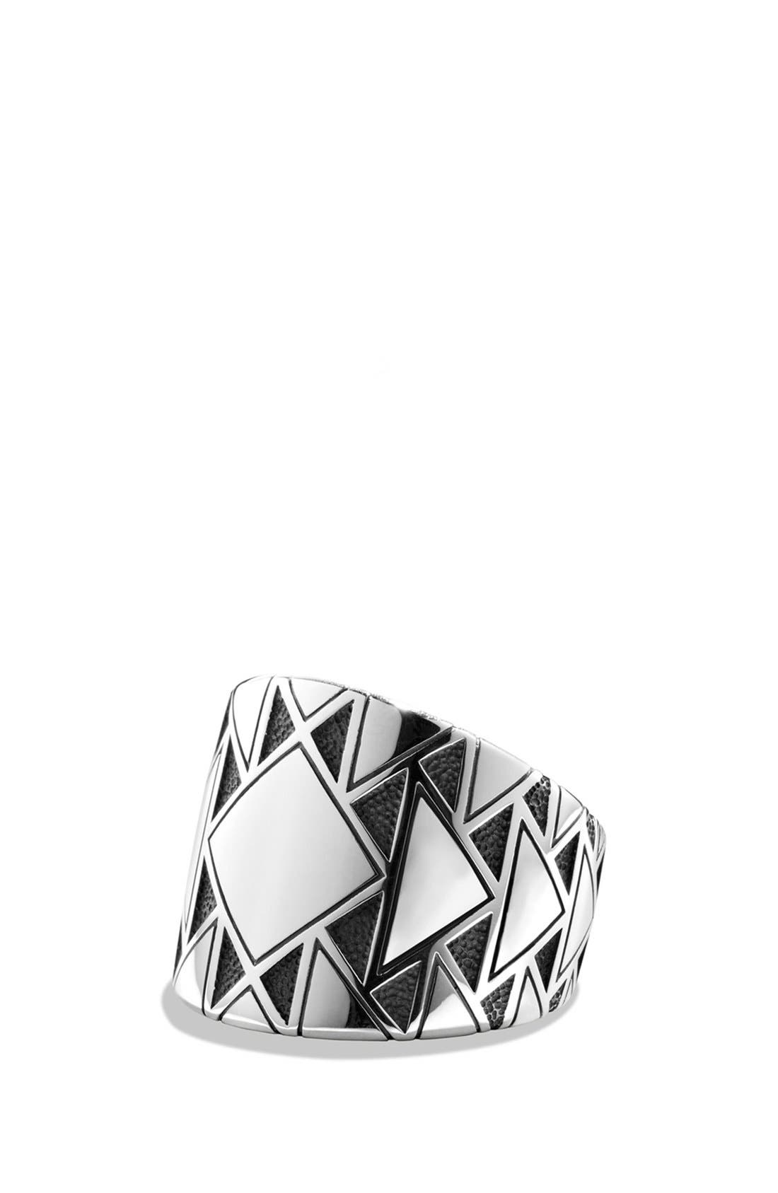 Southwest Signet Ring with Black Diamonds,                         Main,                         color, Silver