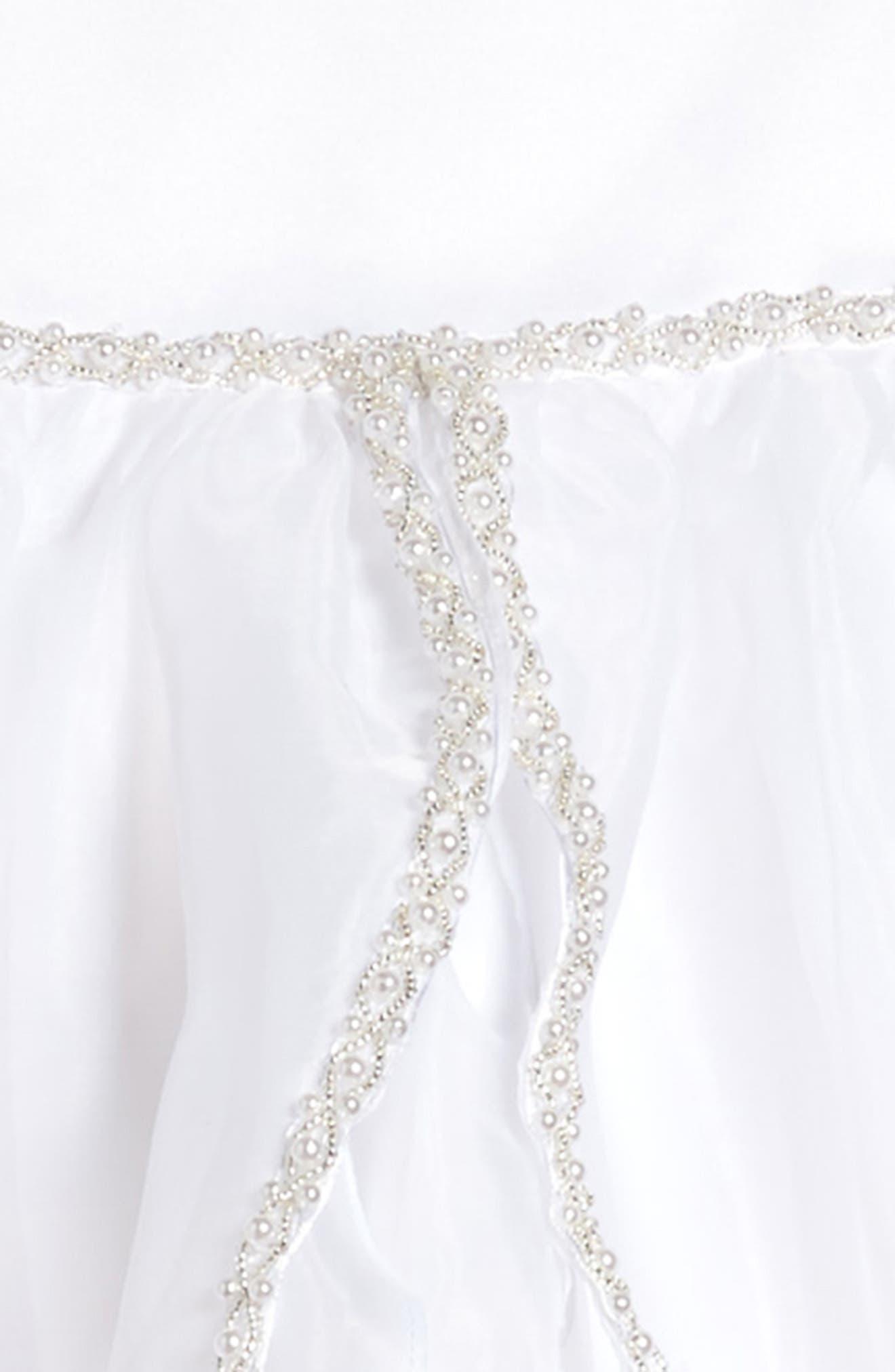 Satin & Organza Dress,                             Alternate thumbnail 3, color,                             White