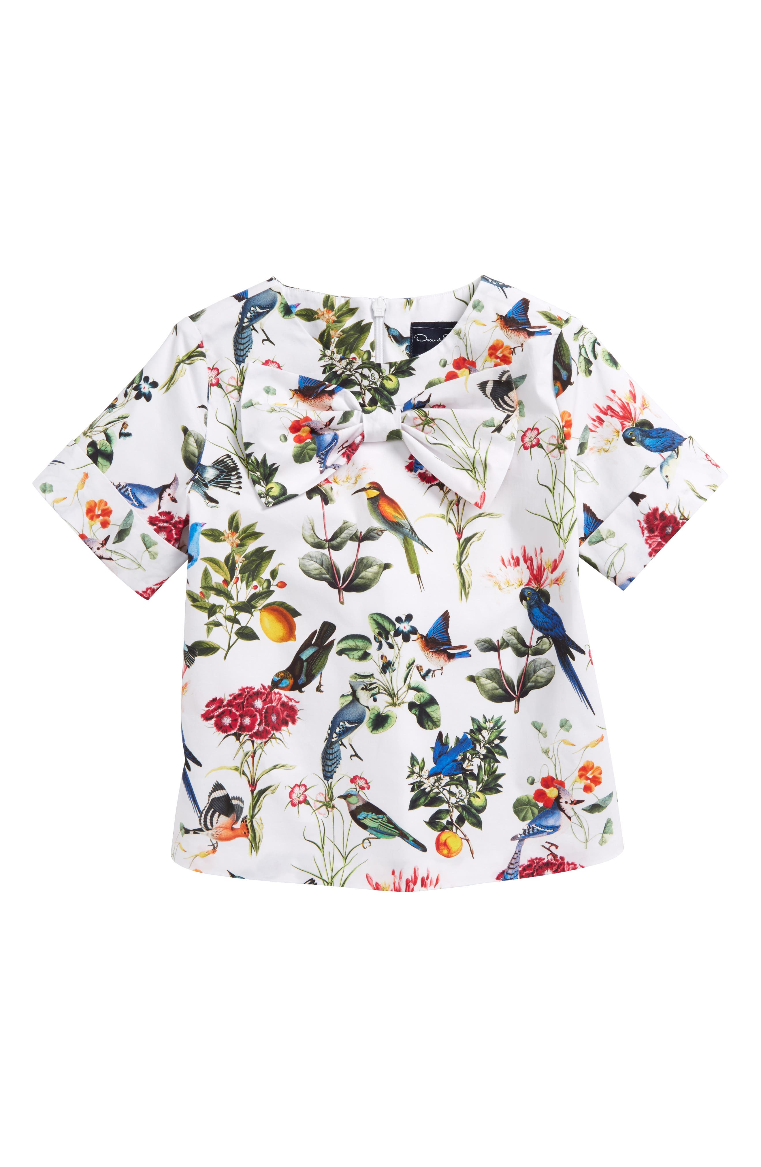 Mikado Botanical Birds Top,                             Main thumbnail 1, color,                             White Multi