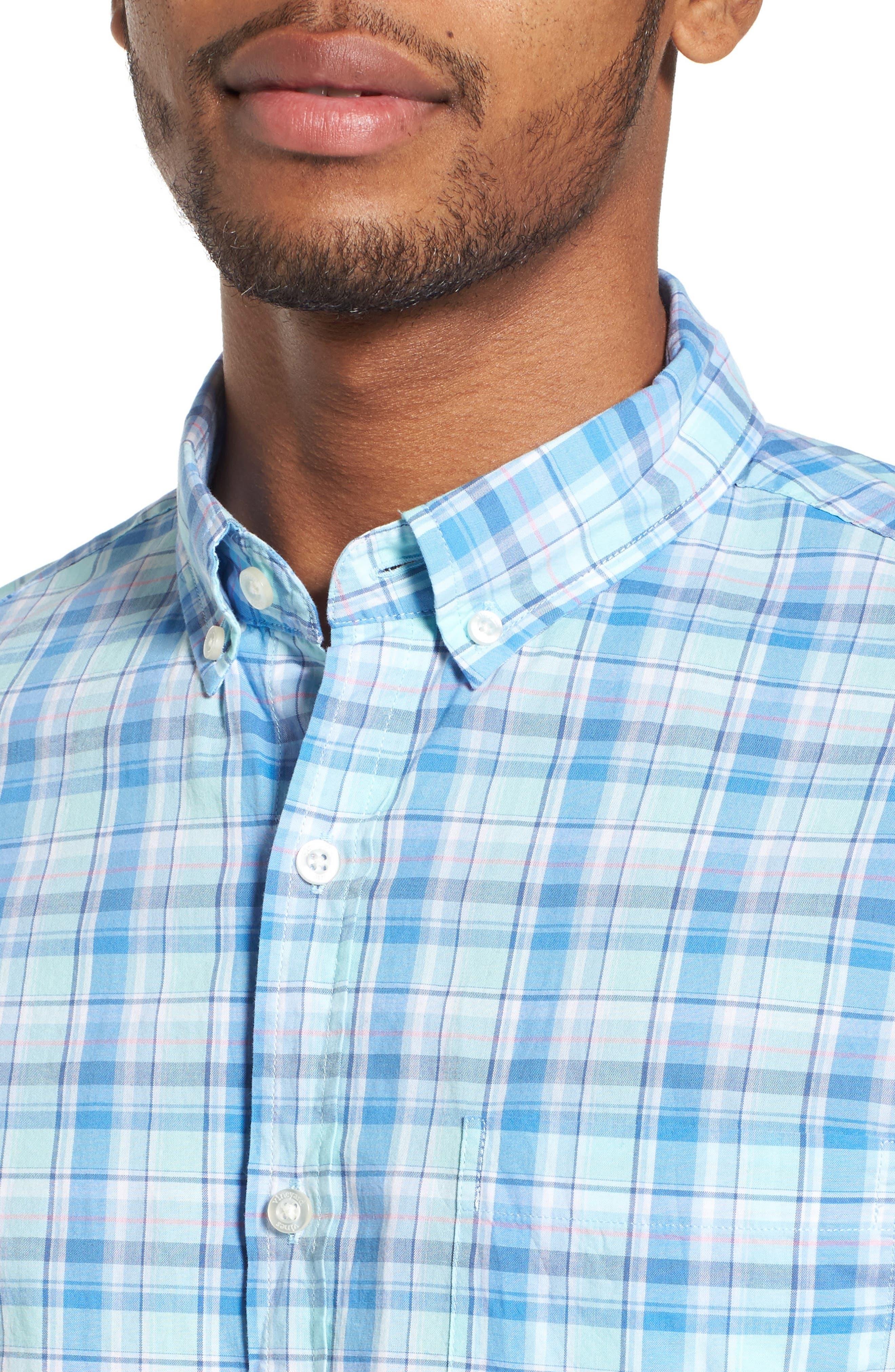 Murray Pine Island Slim Fit Plaid Sport Shirt,                             Alternate thumbnail 4, color,                             Sea Splash