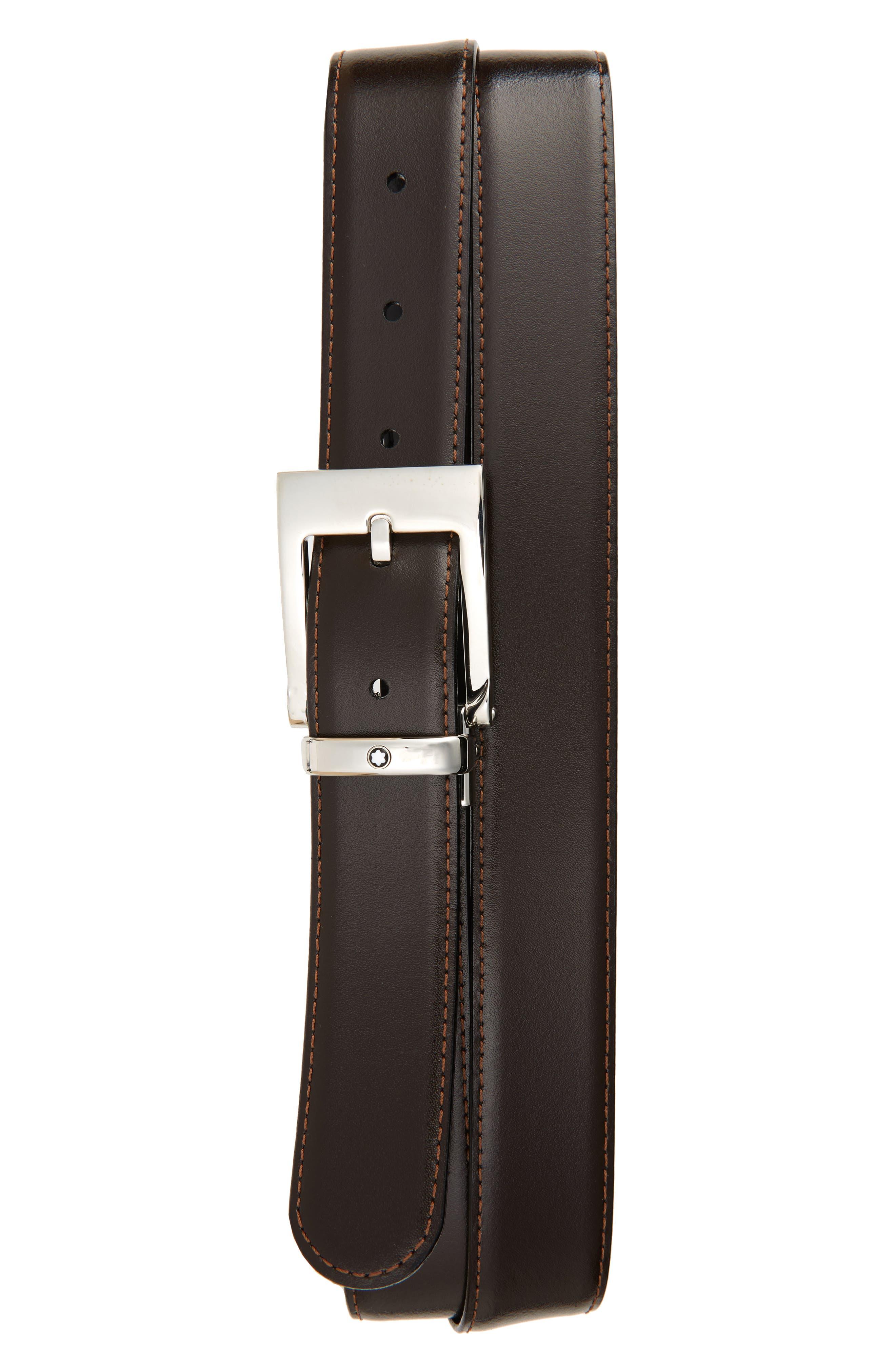 Square Buckle Reversible Leather Belt,                             Alternate thumbnail 2, color,                             Black/ Brown