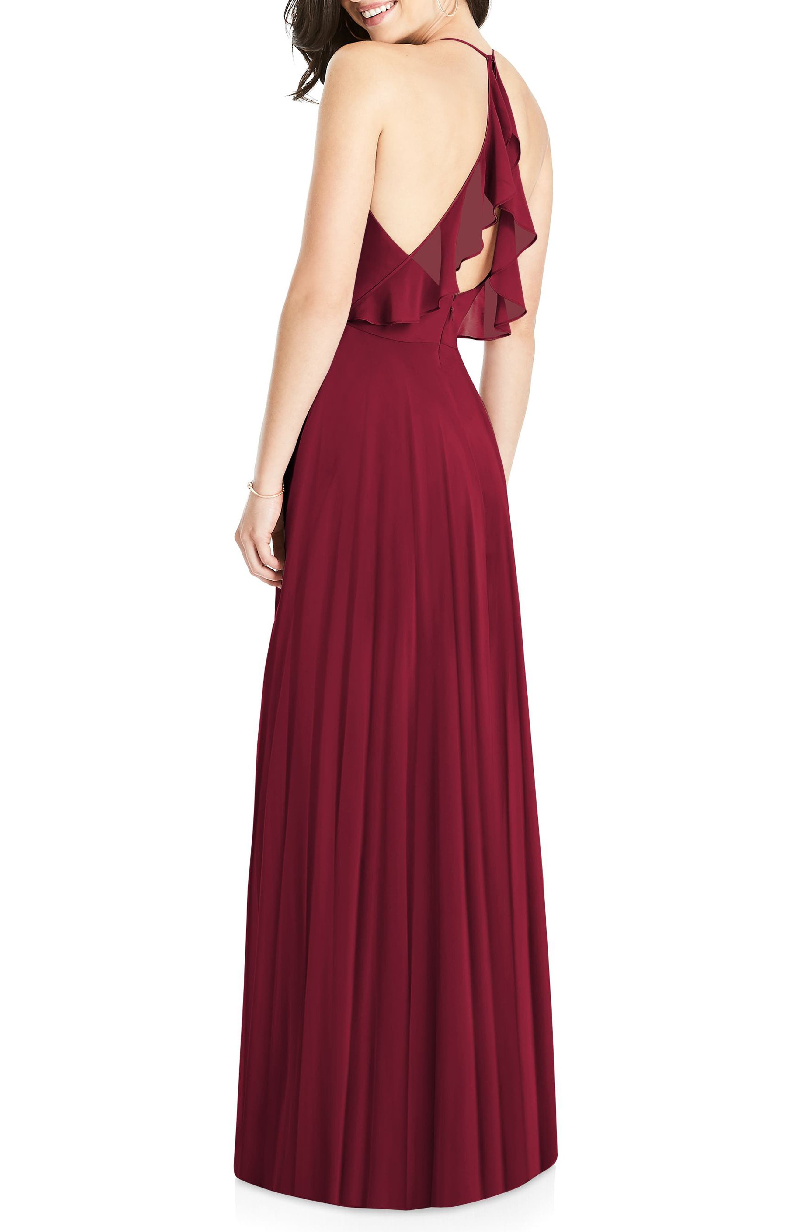 Ruffle Back Chiffon Gown,                             Alternate thumbnail 2, color,                             Burgundy