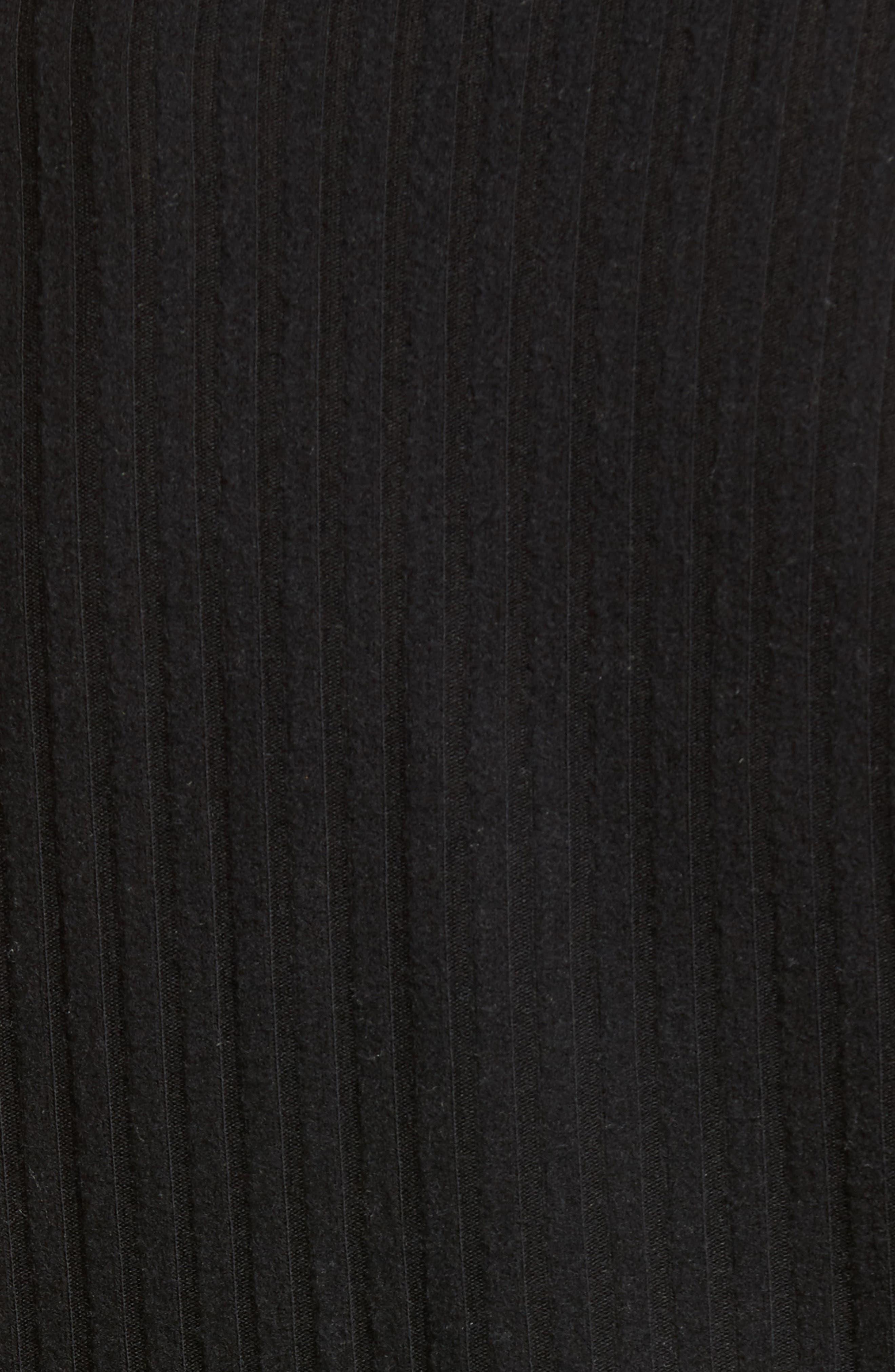 Mock Neck Ribbed Top,                             Alternate thumbnail 5, color,                             Black