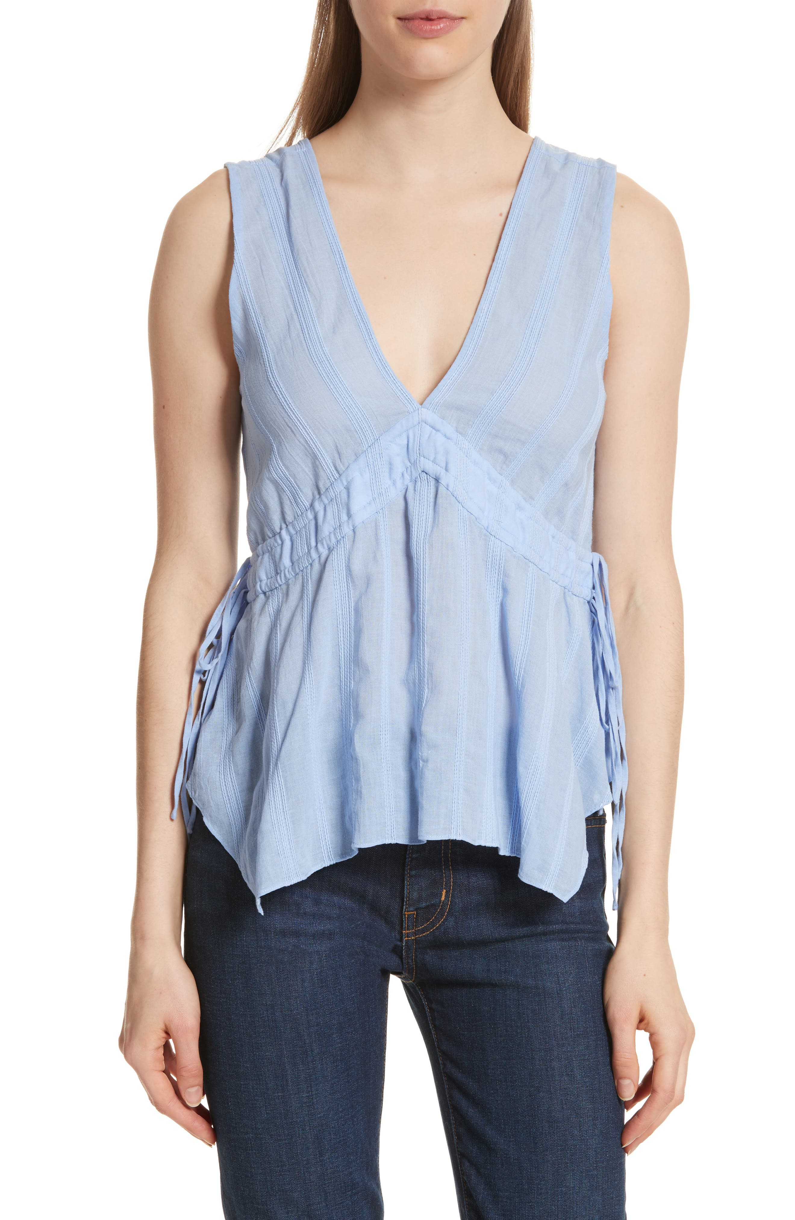 Side Tie Top,                         Main,                         color, French Blue