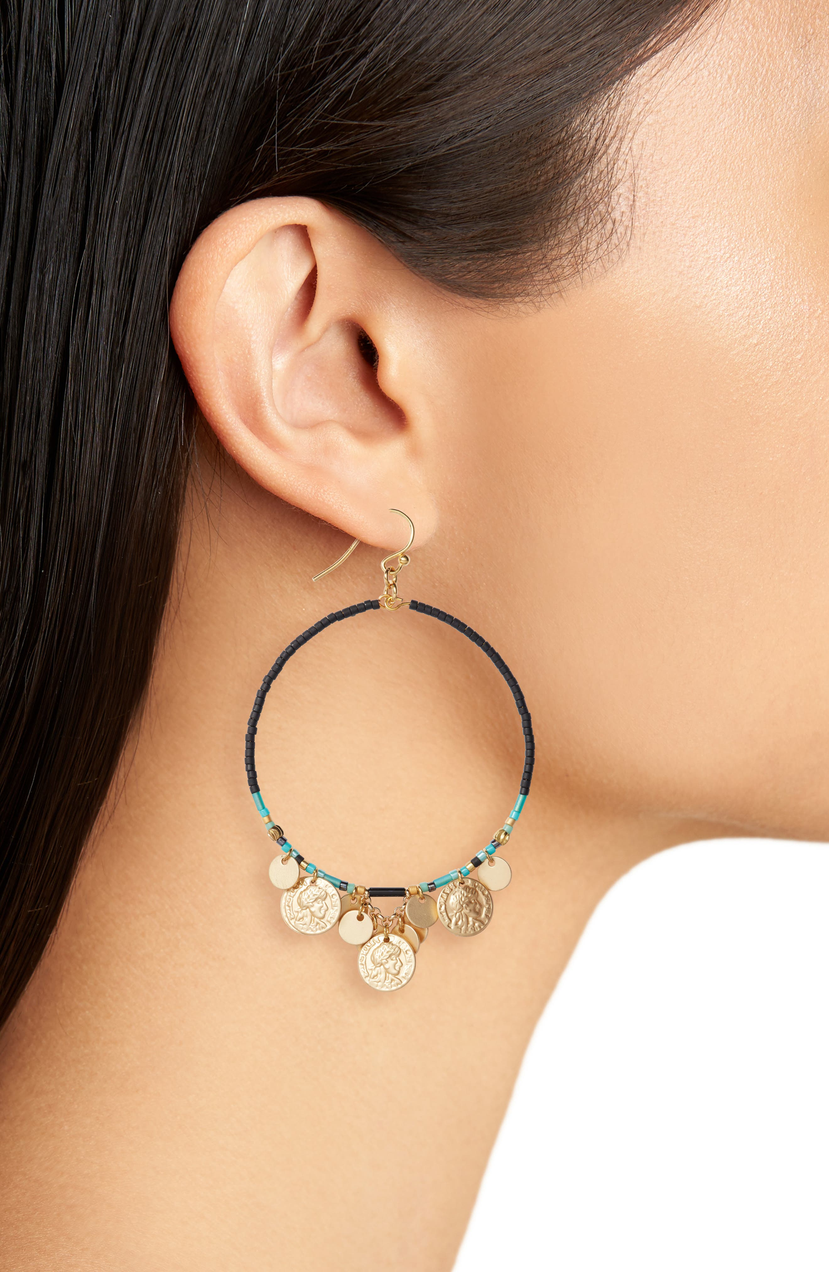 Coin Hoop Earrings,                             Alternate thumbnail 2, color,                             Black Mix