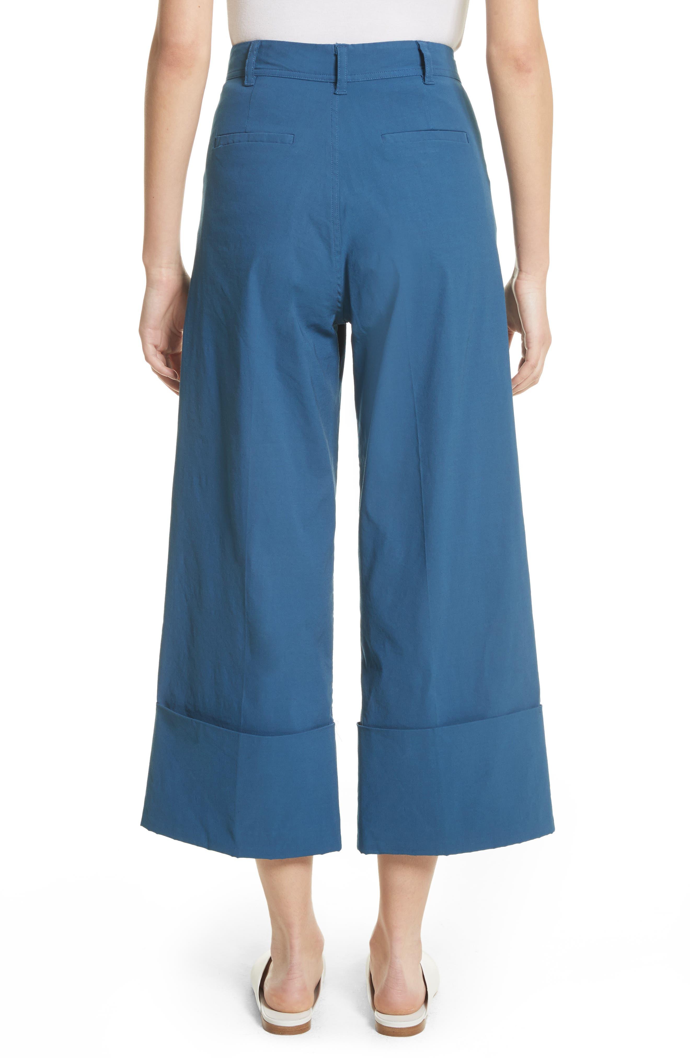 Winona Cuff Wide Leg Pants,                             Alternate thumbnail 2, color,                             Blue