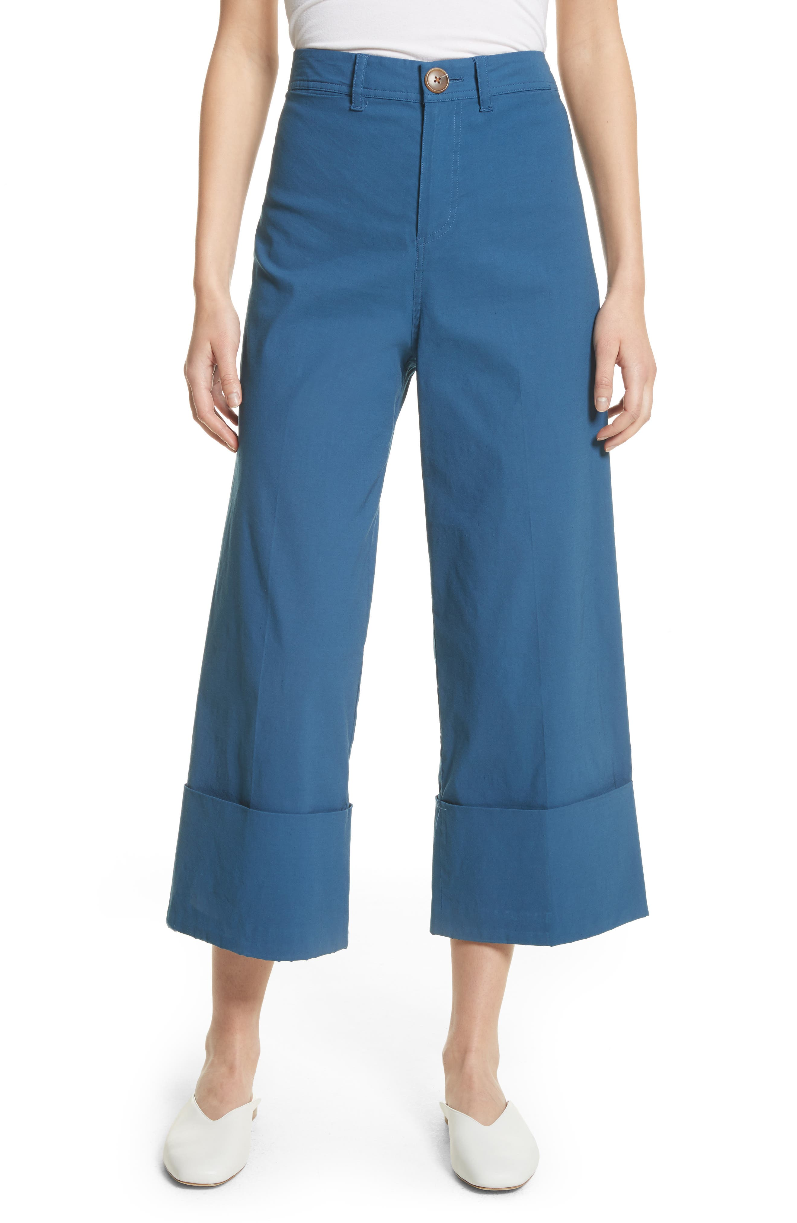 Winona Cuff Wide Leg Pants,                             Main thumbnail 1, color,                             Blue