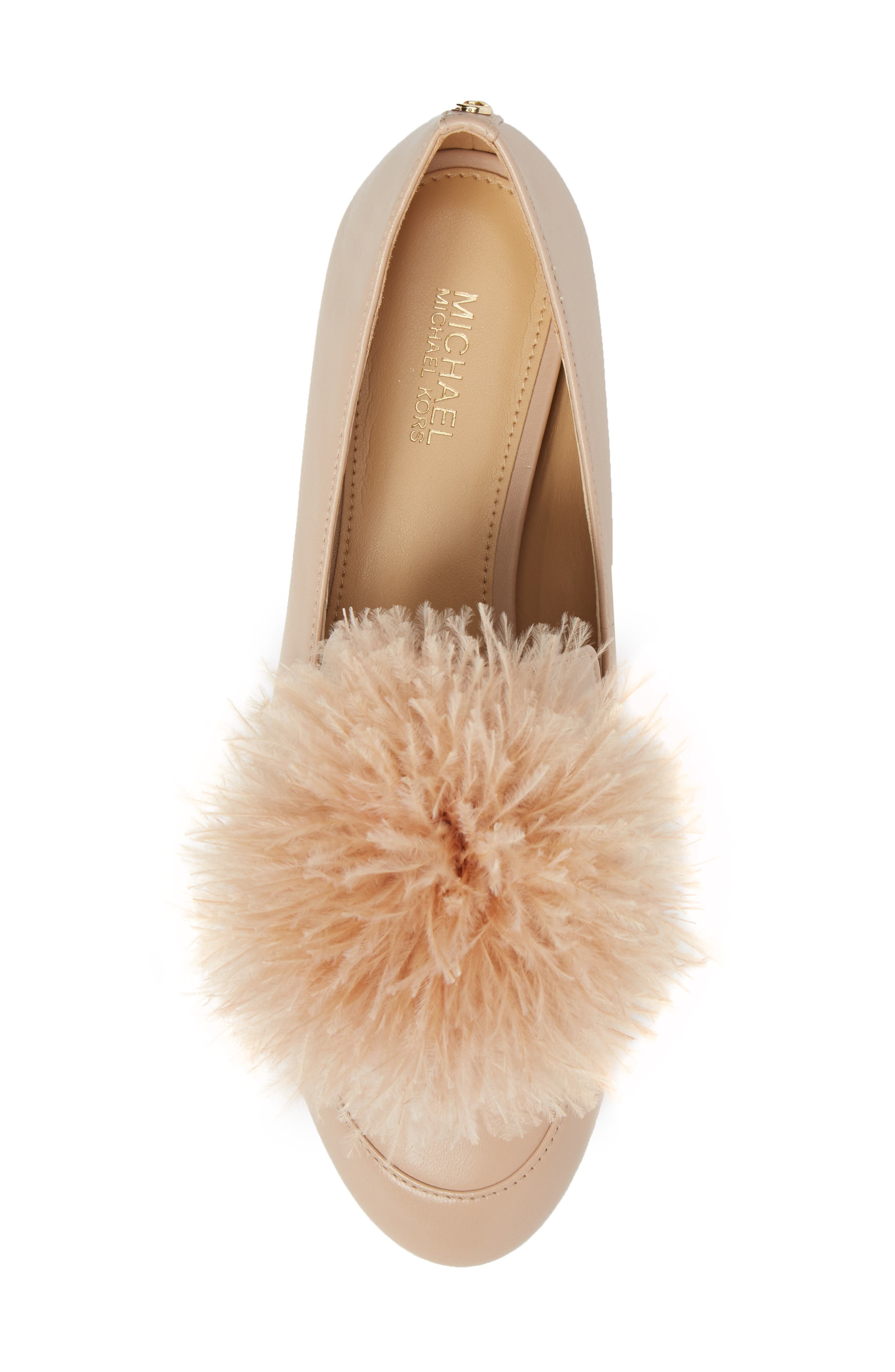 Fara Feather Pom Loafer,                             Alternate thumbnail 5, color,                             Oyster Nappa Leather