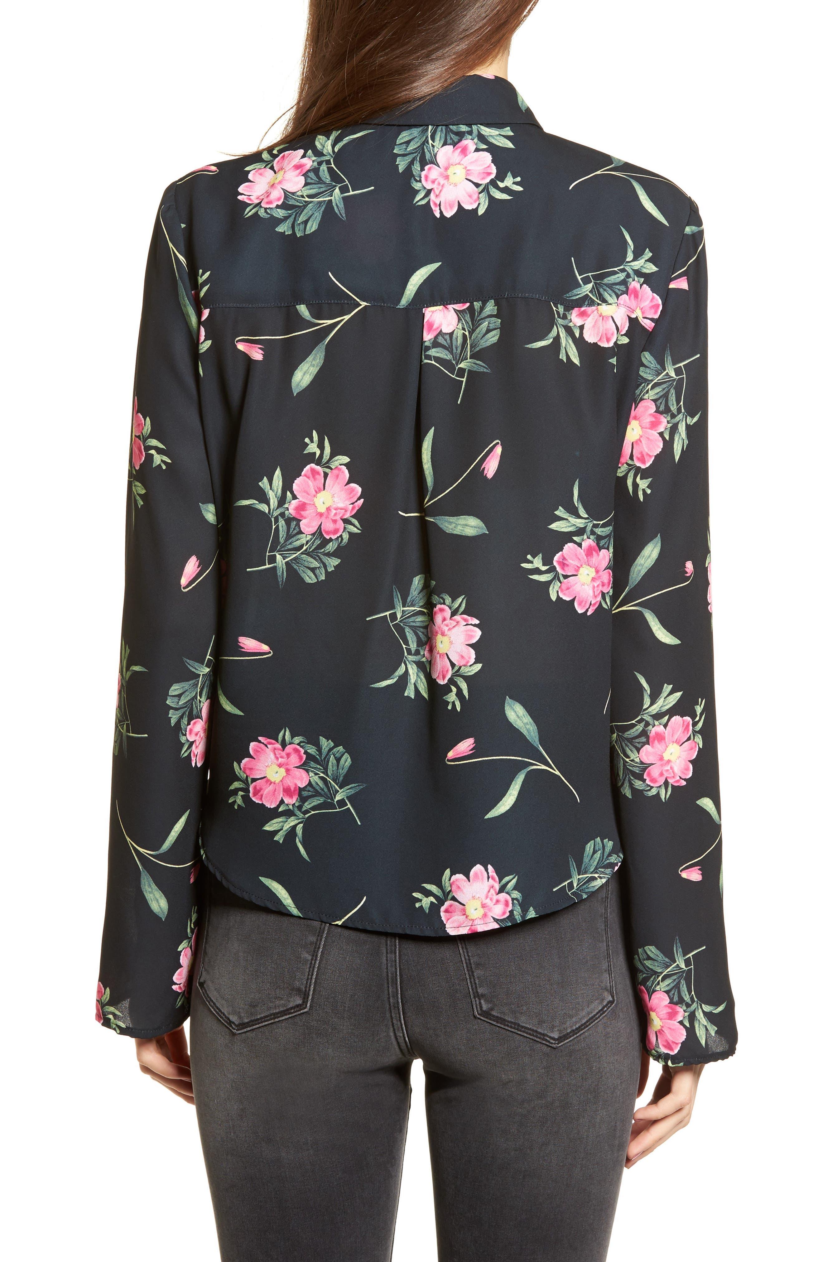 Tie Front Shirt,                             Alternate thumbnail 2, color,                             Black Floral