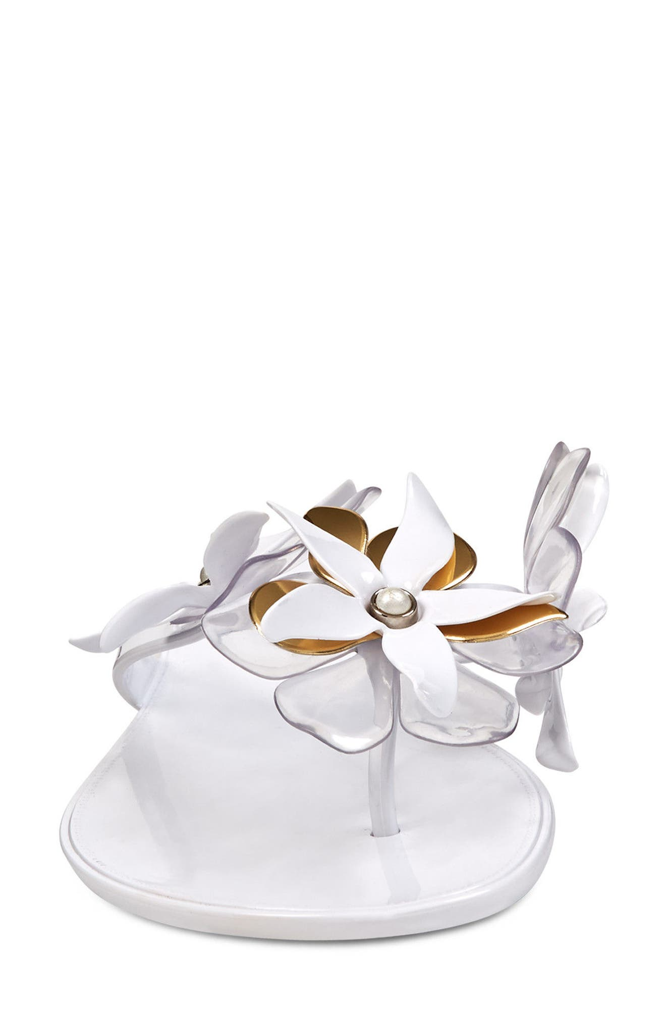 Mapilo Flower Embellished Jelly Flip Flop,                             Alternate thumbnail 4, color,                             White Multi