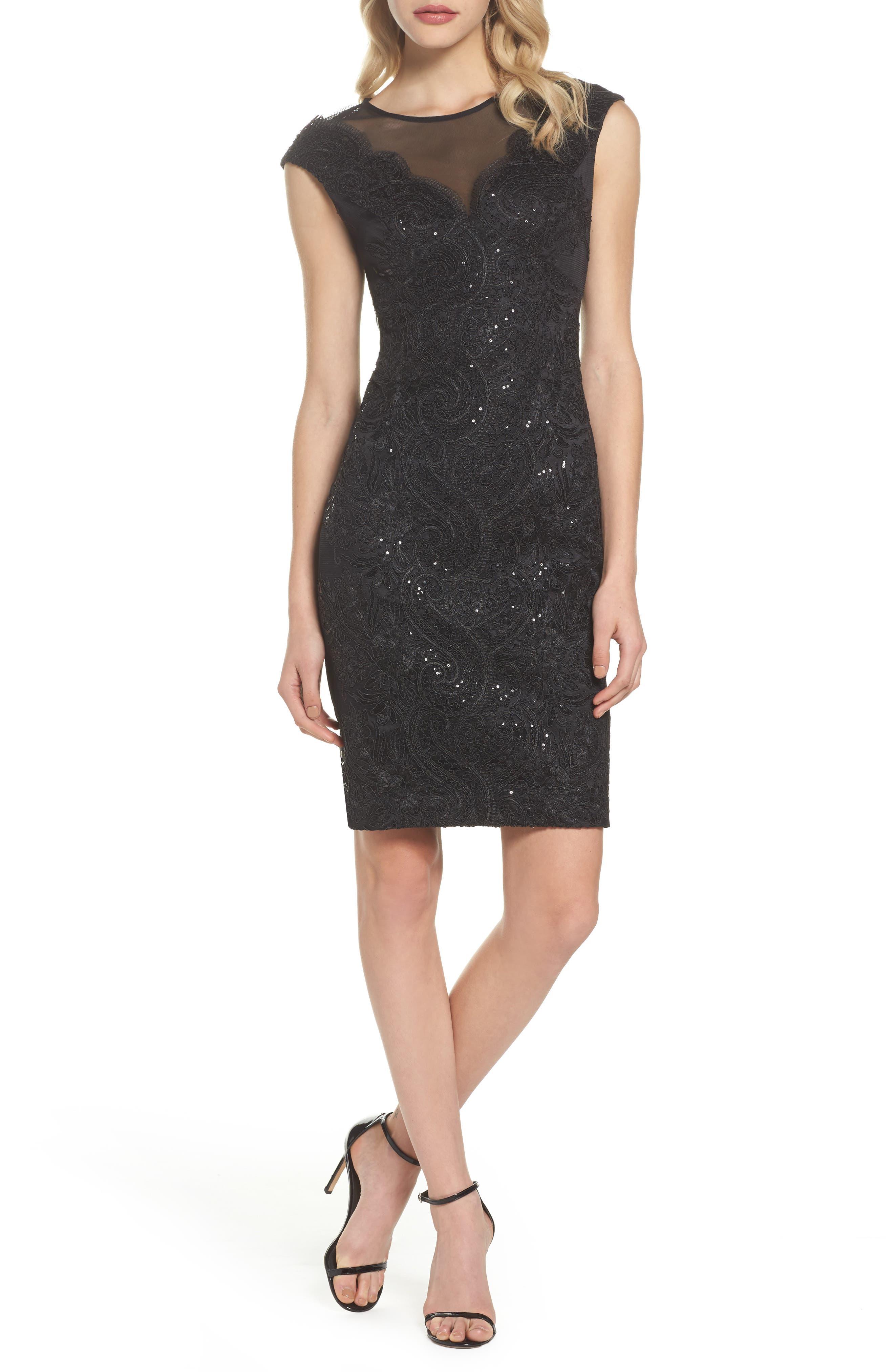 Illusion Neck Lace Sheath Dress,                         Main,                         color, Black