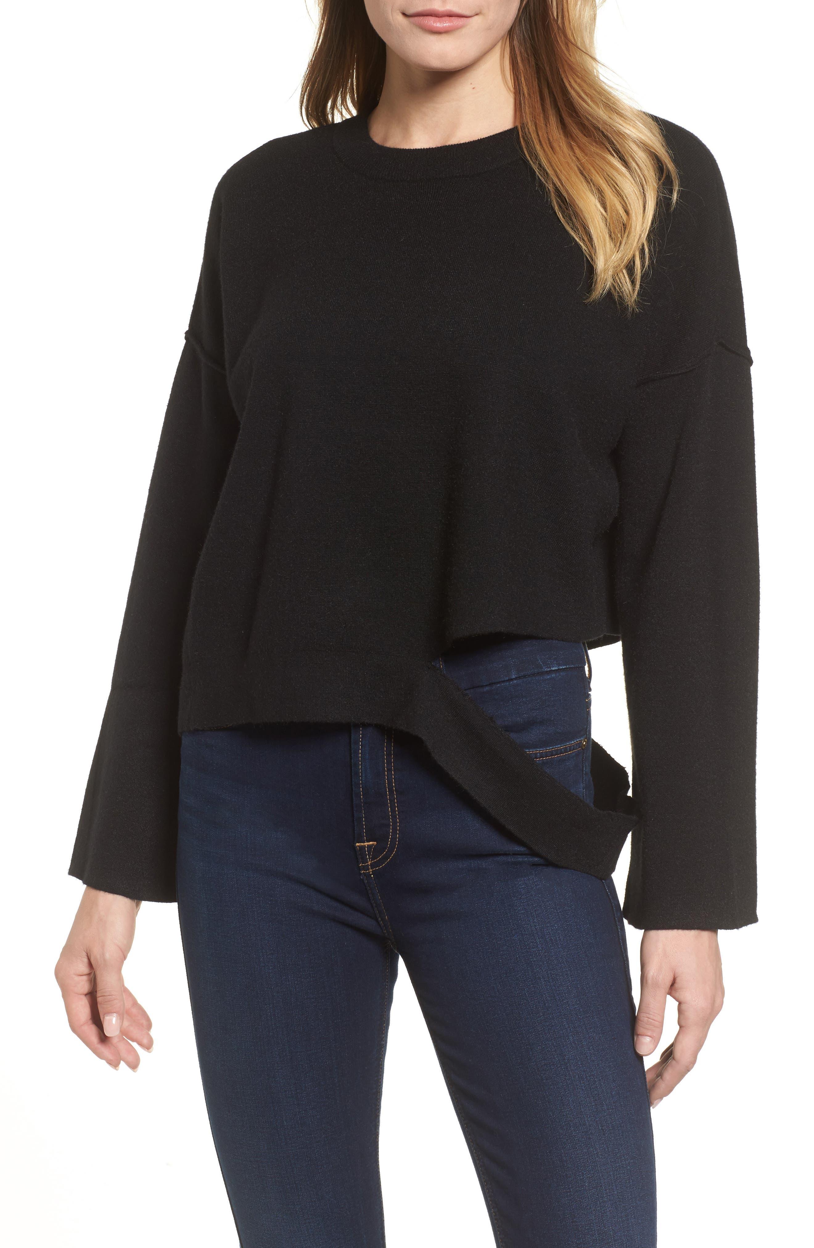 Bottom Cutout Pullover,                         Main,                         color, Black