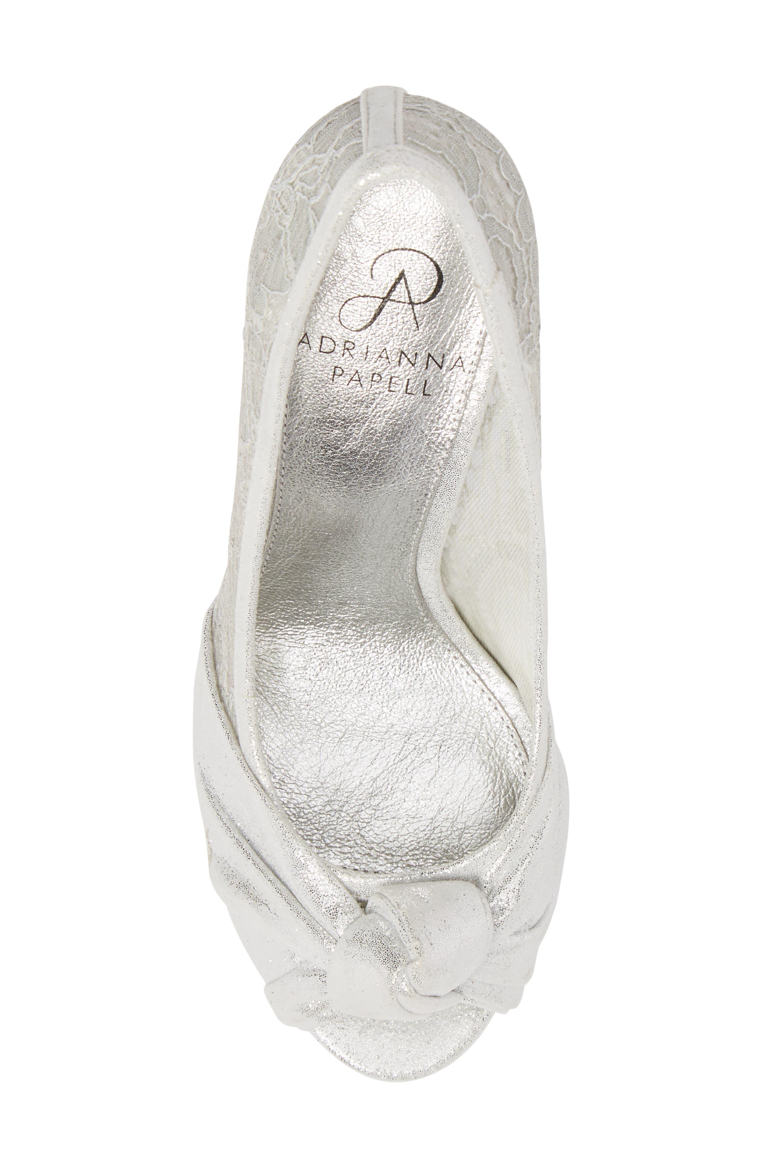 Francesca Knotted Peep Toe Pump,                             Alternate thumbnail 6, color,                             Silver Satin