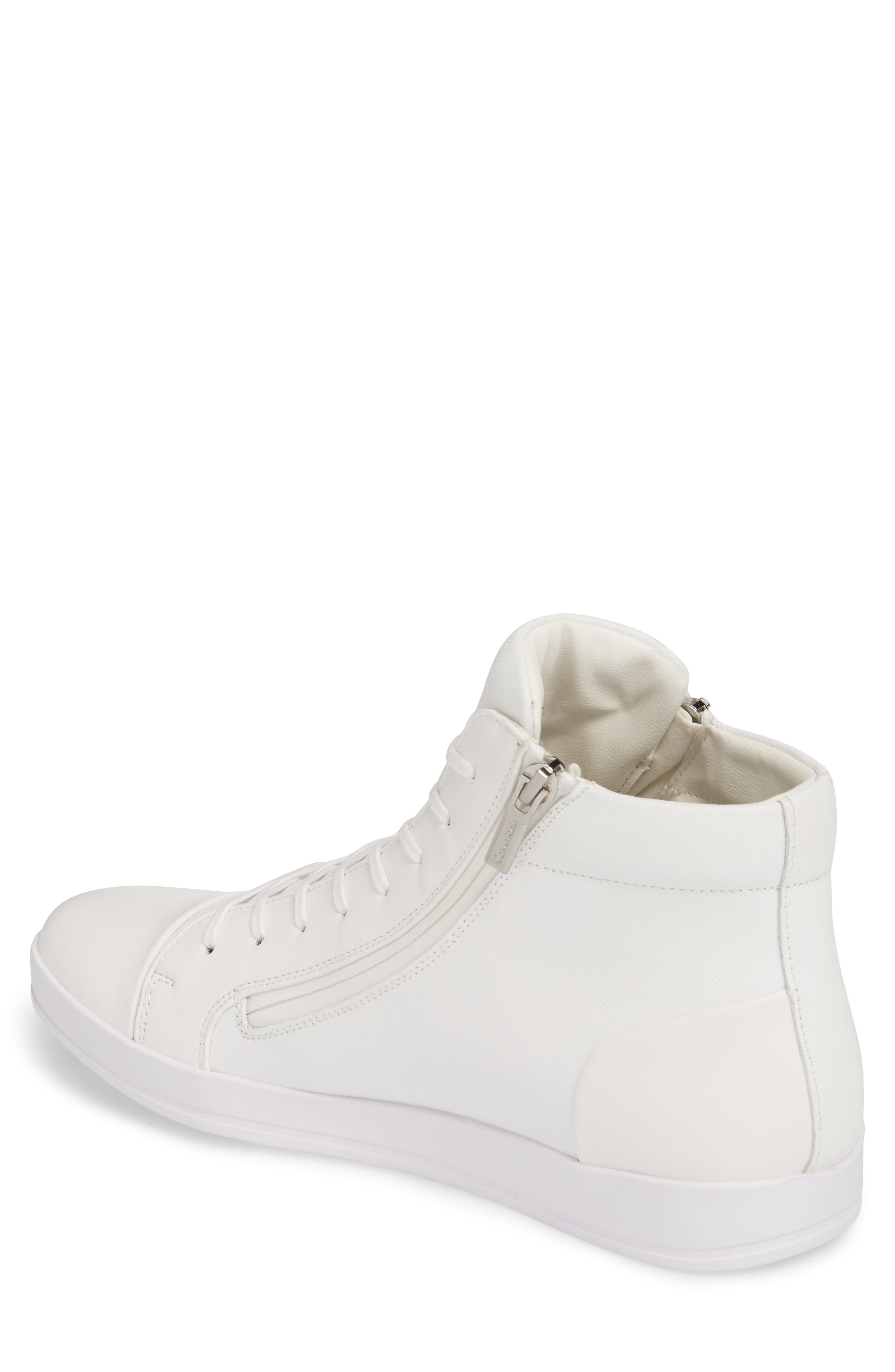 Berke High Top Sneaker,                             Alternate thumbnail 2, color,                             White Leather