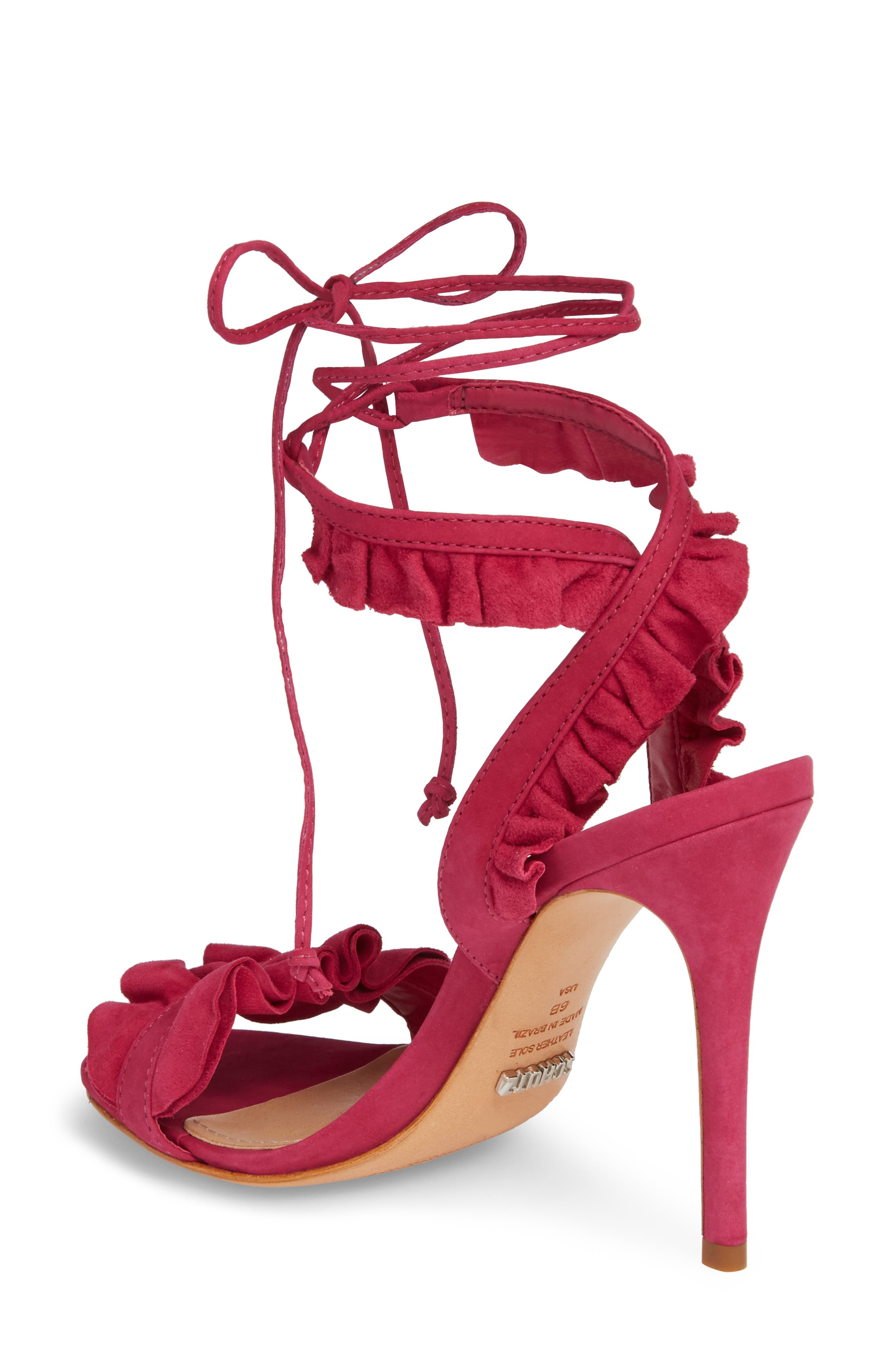 Irem Lace-UP Sandal,                             Alternate thumbnail 2, color,                             Bright Rose Nubuck Leather