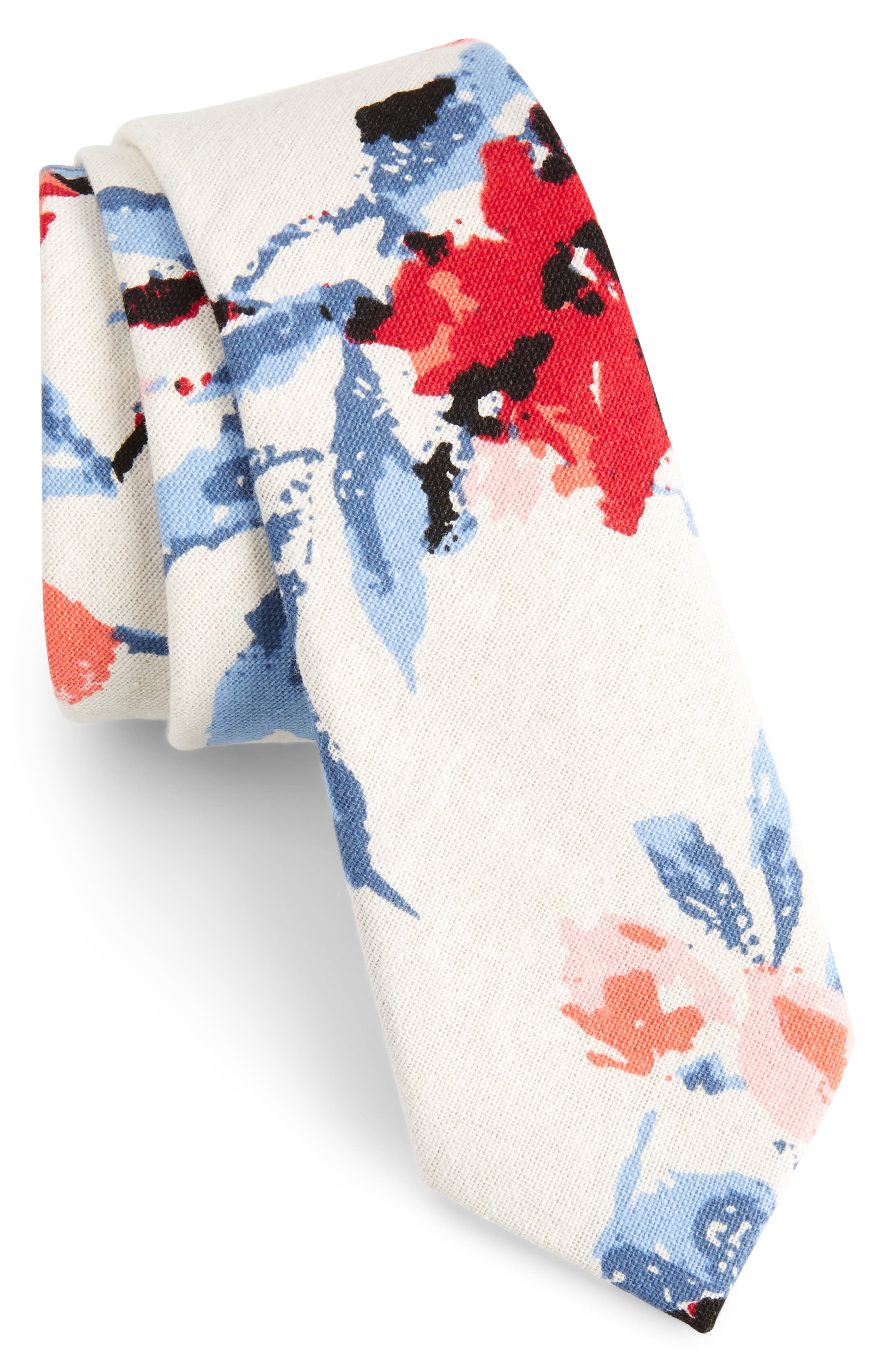 Every Floral Cotton Skinny Tie,                         Main,                         color, Red
