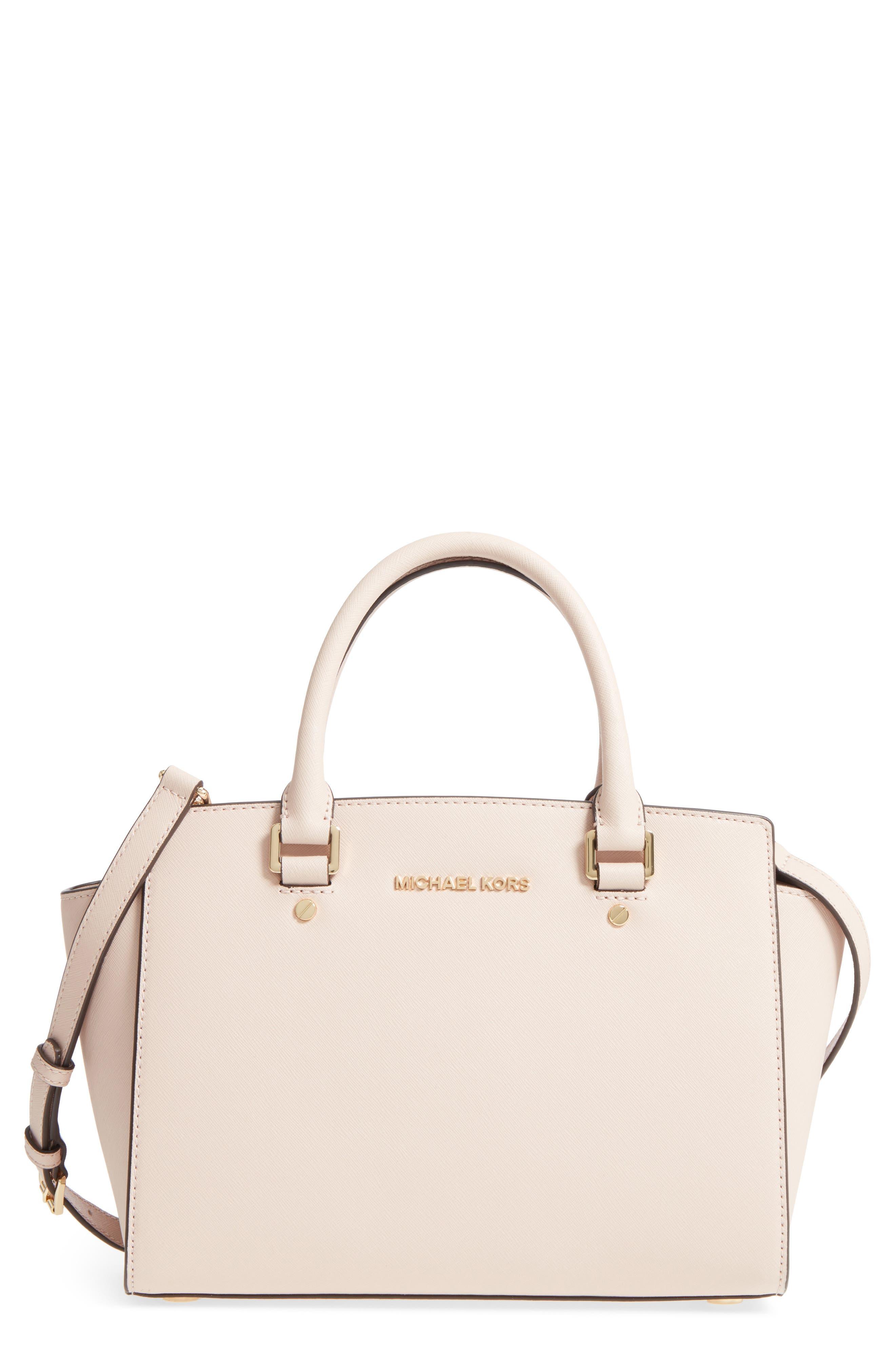 'Selma Medium' Leather Satchel,                         Main,                         color, Soft Pink