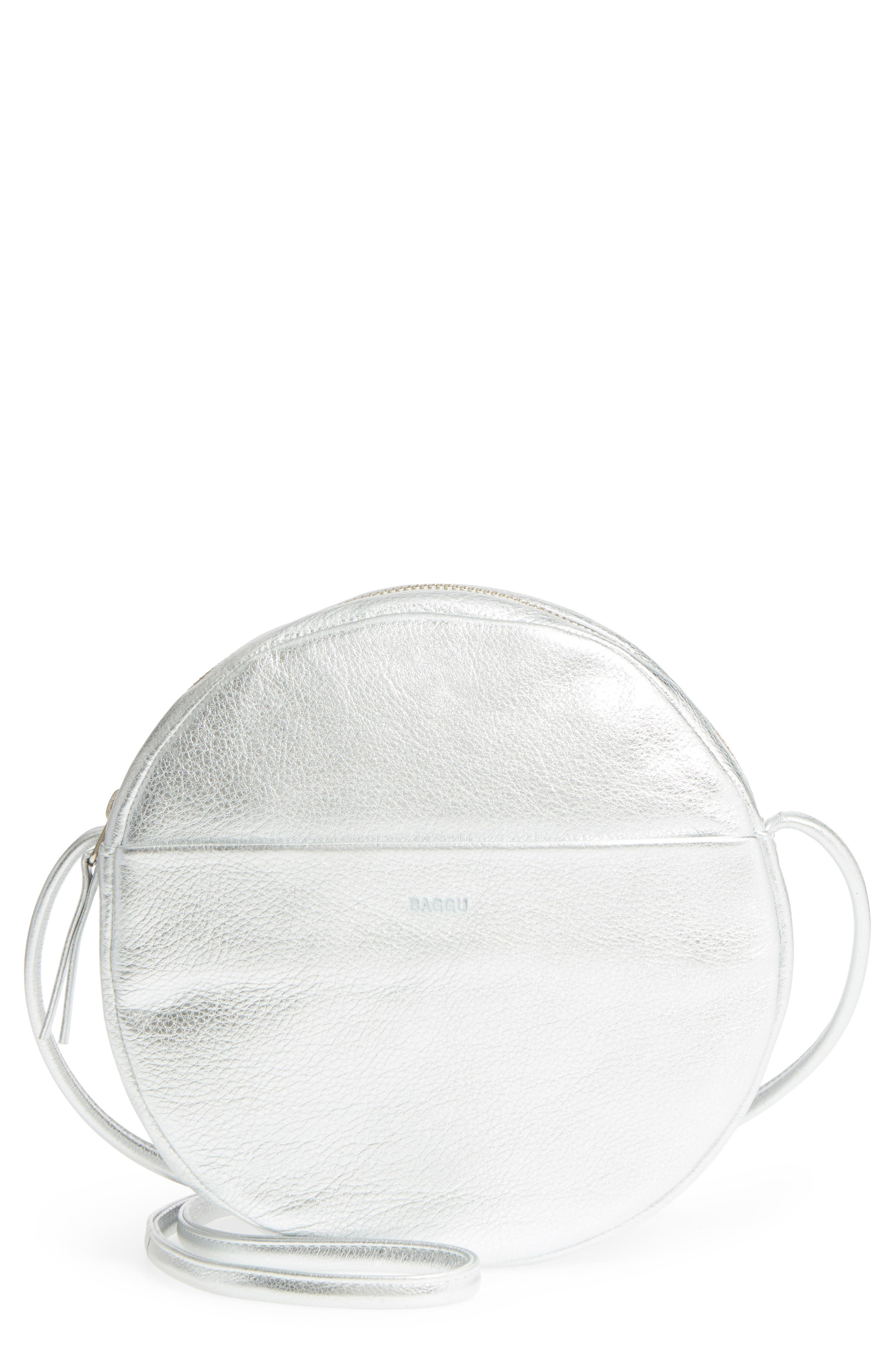 Circle Calfskin Leather Crossbody Bag,                             Main thumbnail 1, color,                             Silver