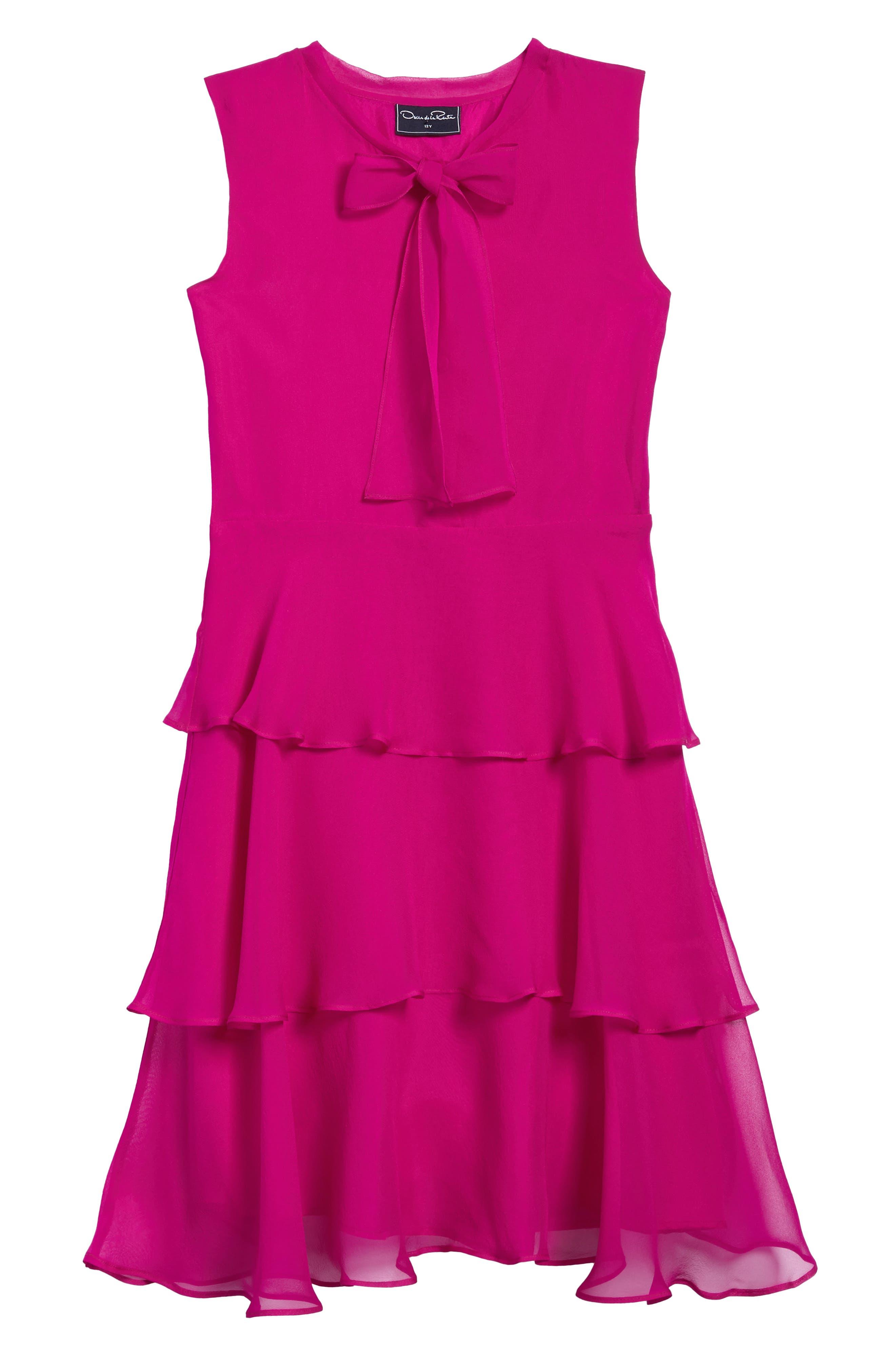 Tiered Silk Chiffon Dress,                         Main,                         color, Fuchsia