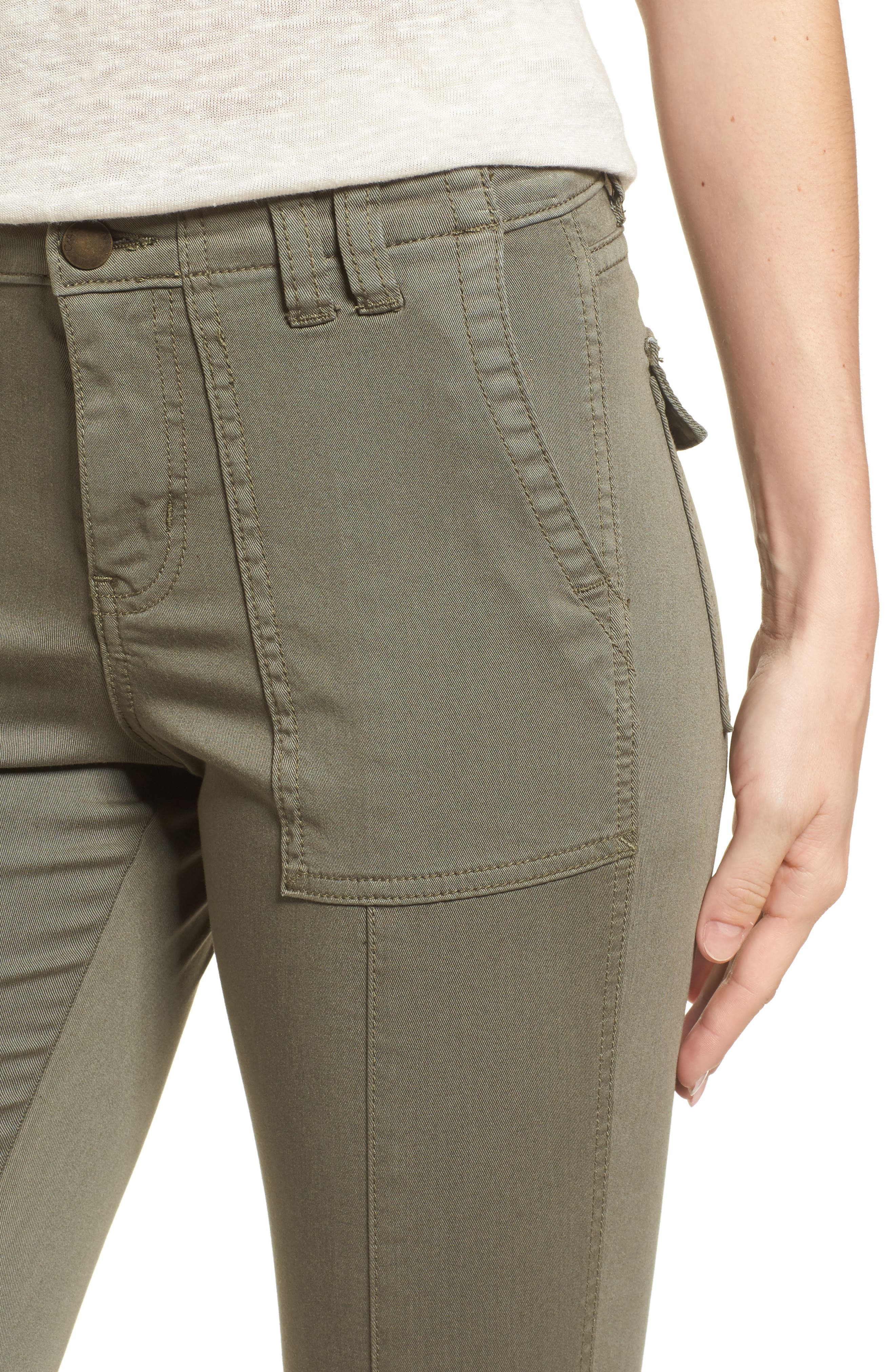 Crop Utility Pants,                             Alternate thumbnail 4, color,                             Olive