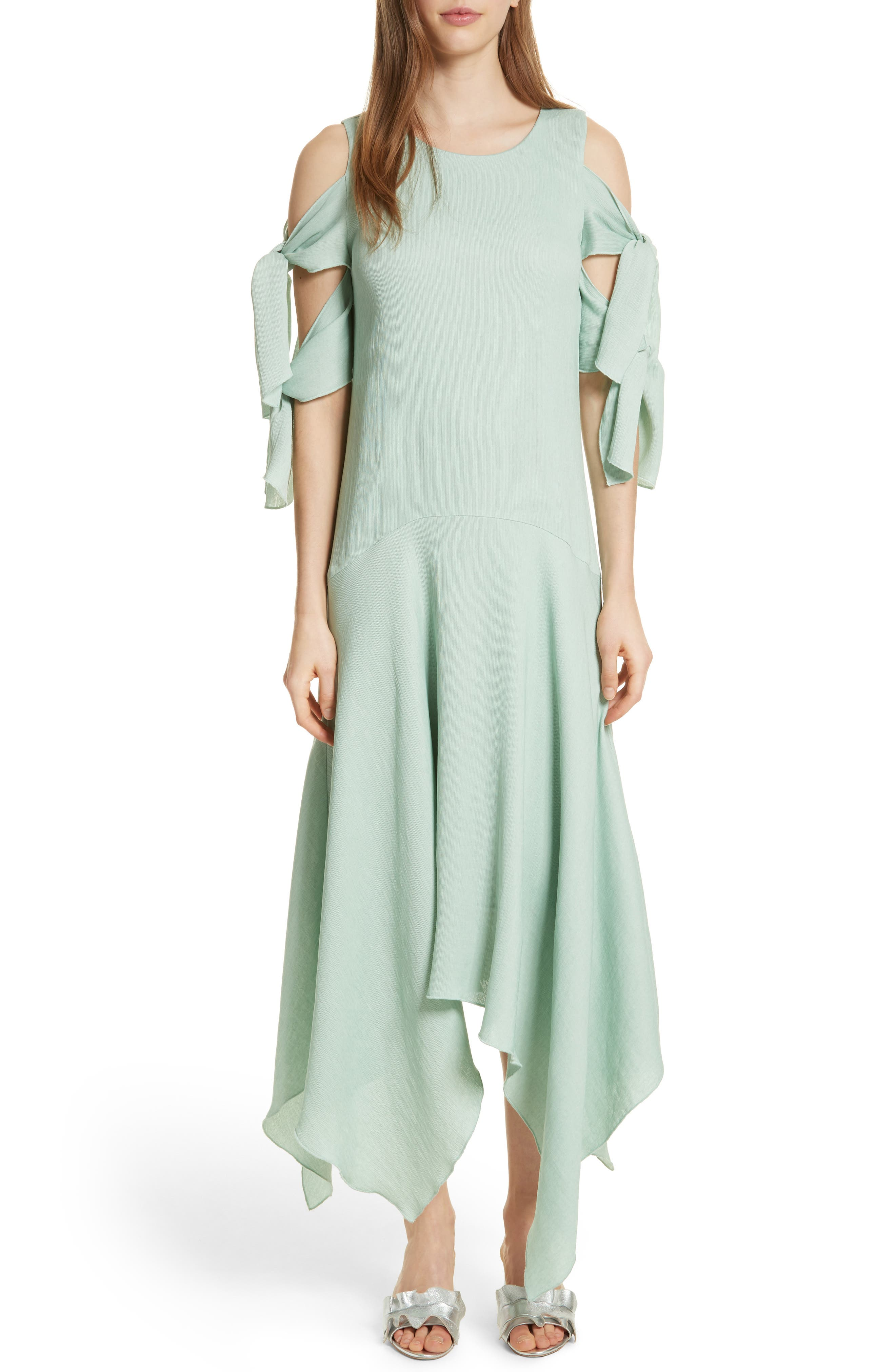 Prose & Poetry Vivianna Drop Waist Midi Dress,                             Main thumbnail 1, color,                             Aqua Foam