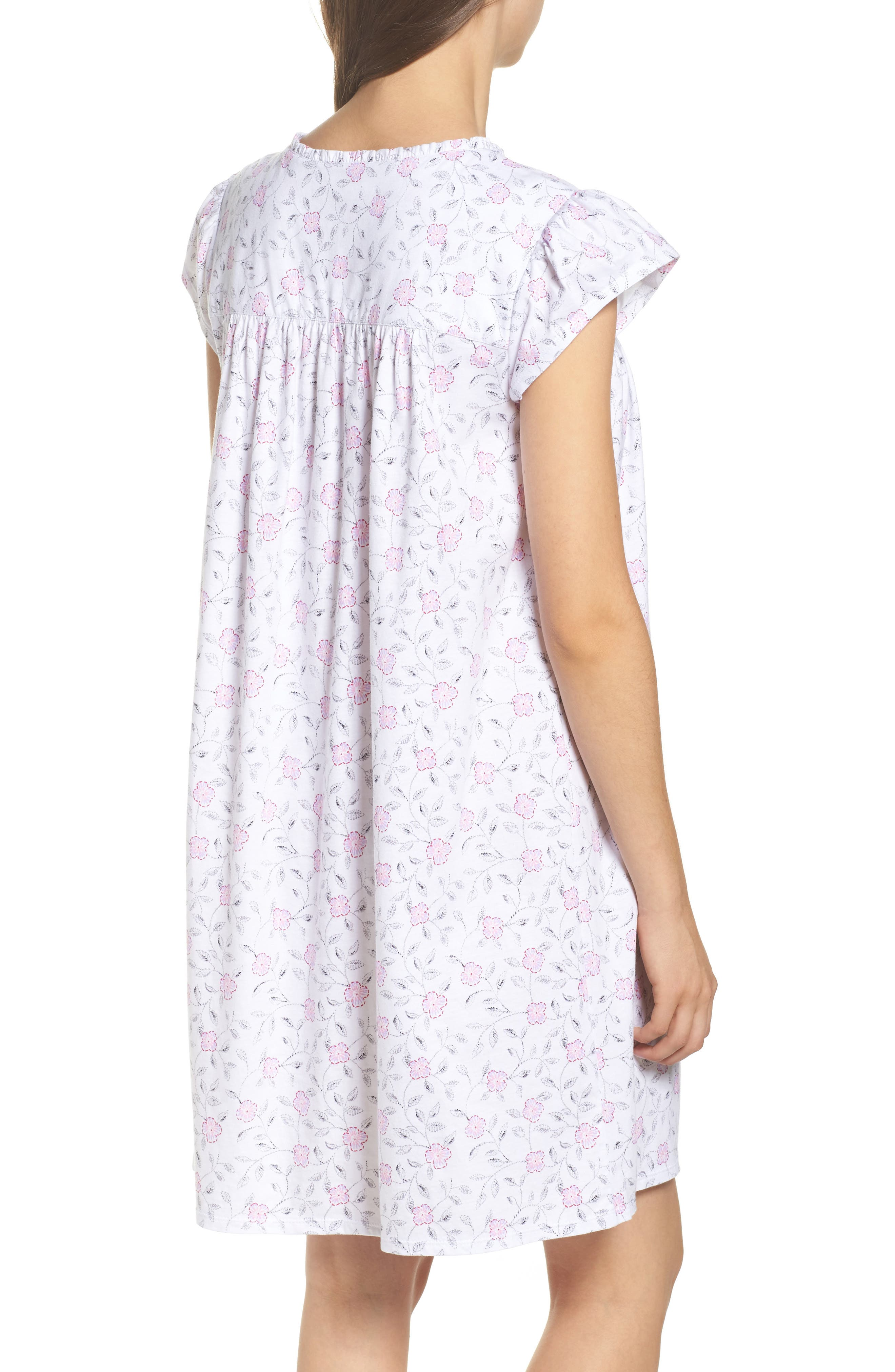 Cotton Jersey Nightgown,                             Alternate thumbnail 2, color,                             White Floral Scroll