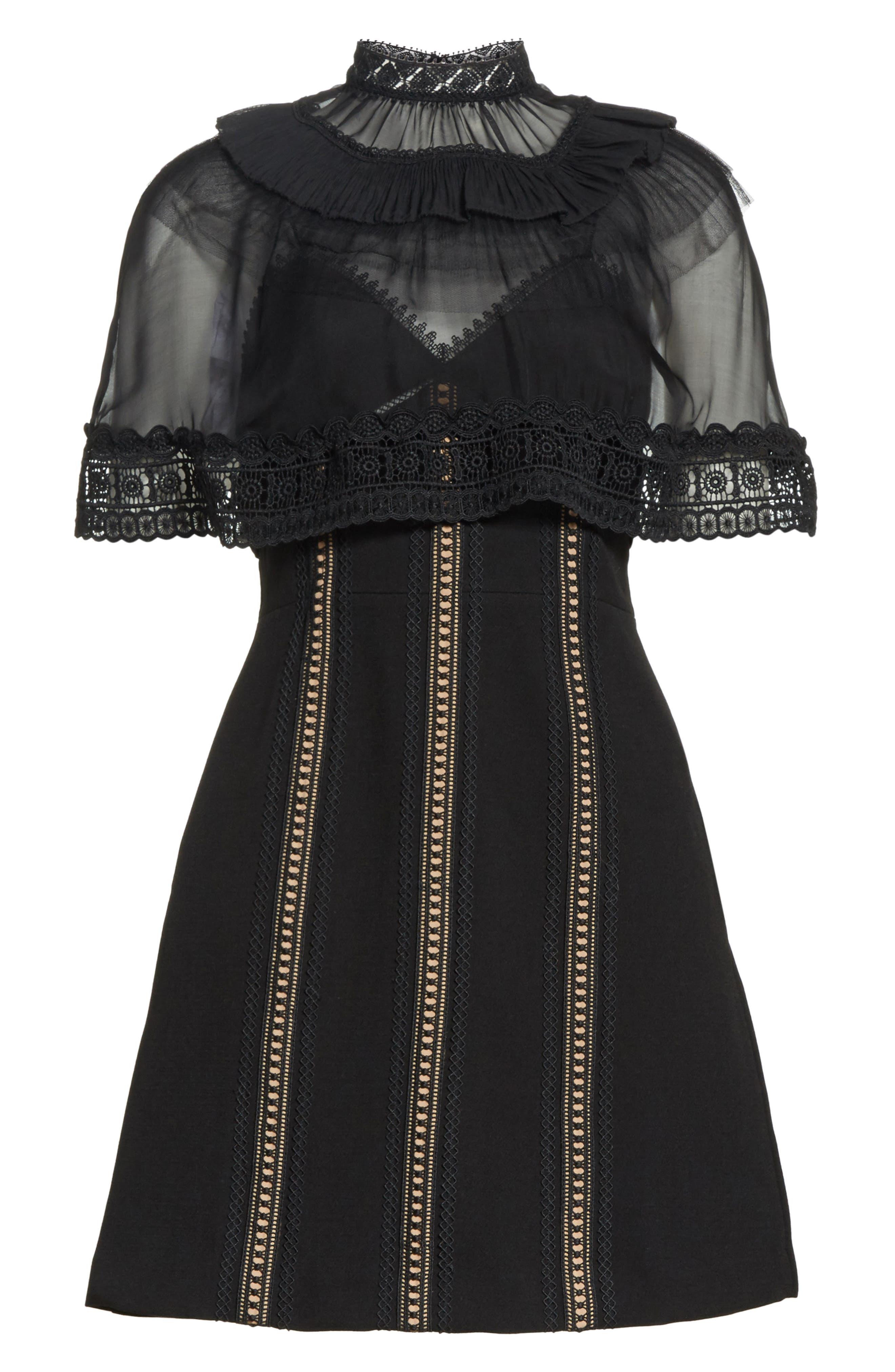Trimmed Overlay Minidress,                             Alternate thumbnail 6, color,                             Black