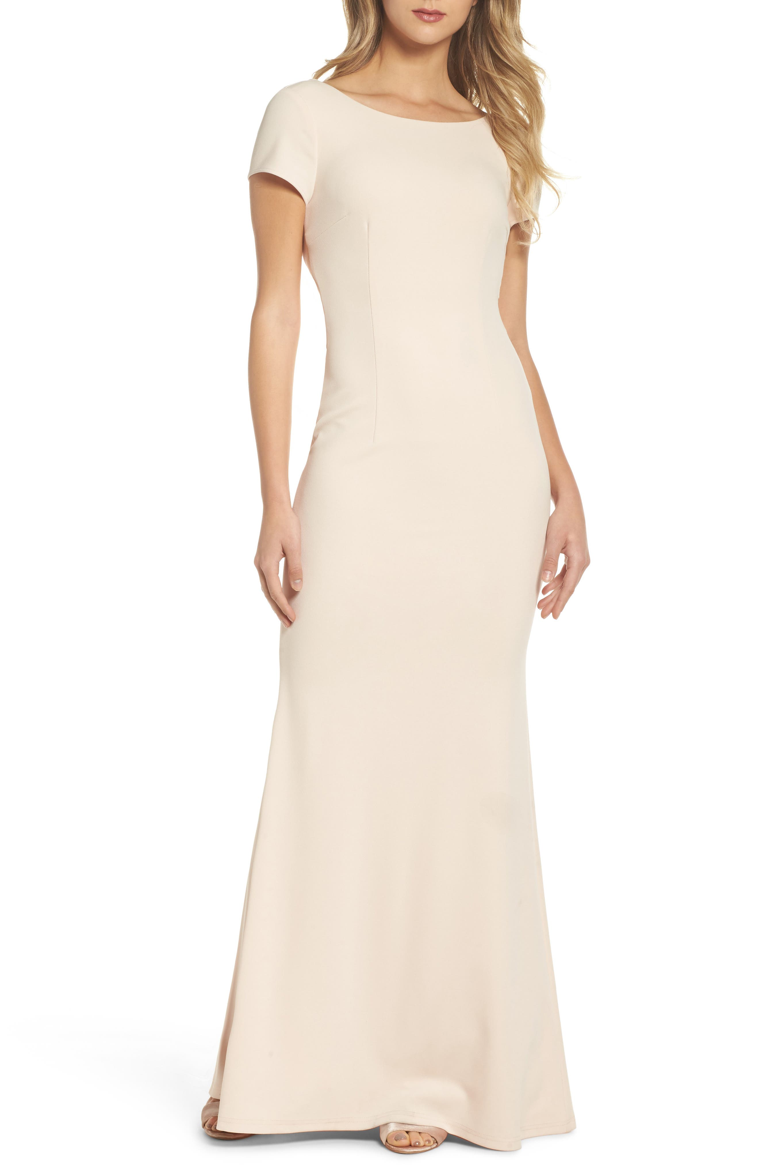 Twist Back Mermaid Gown,                         Main,                         color, Blush