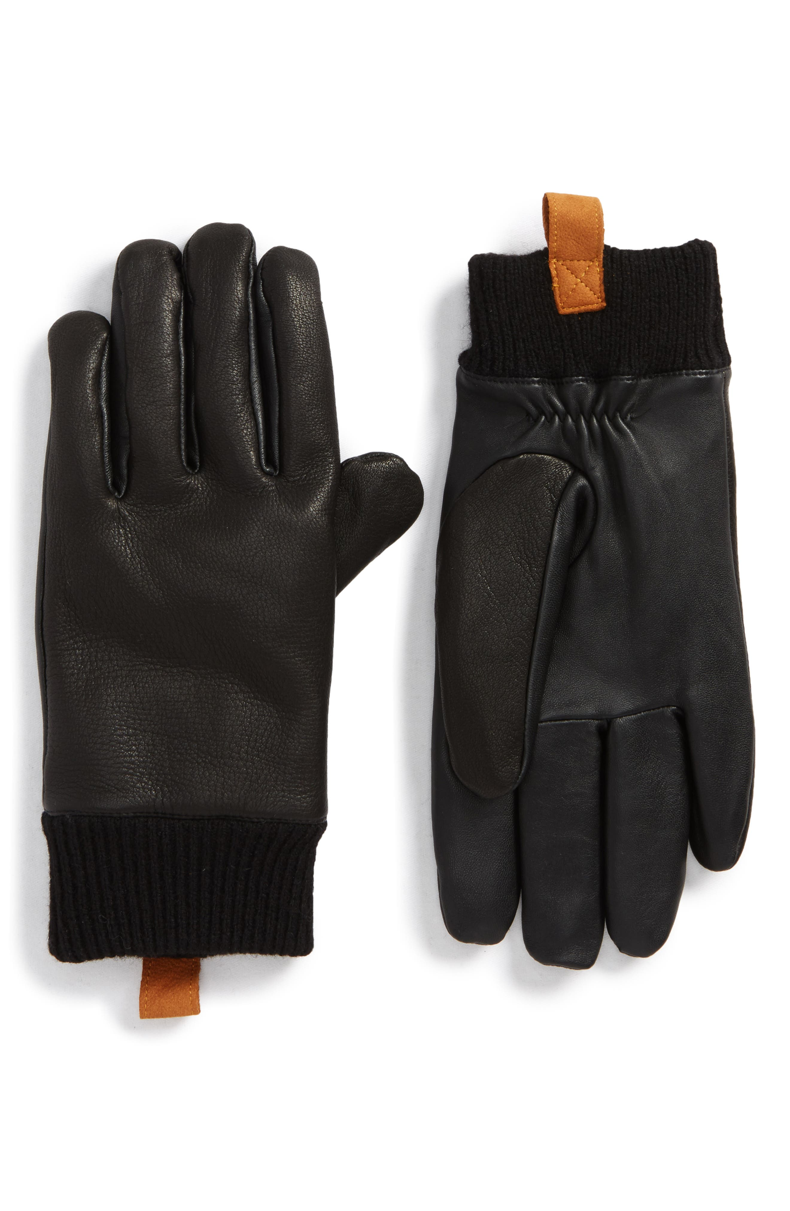 Smart Genuine Shearling Leather Gloves,                             Main thumbnail 1, color,                             Black