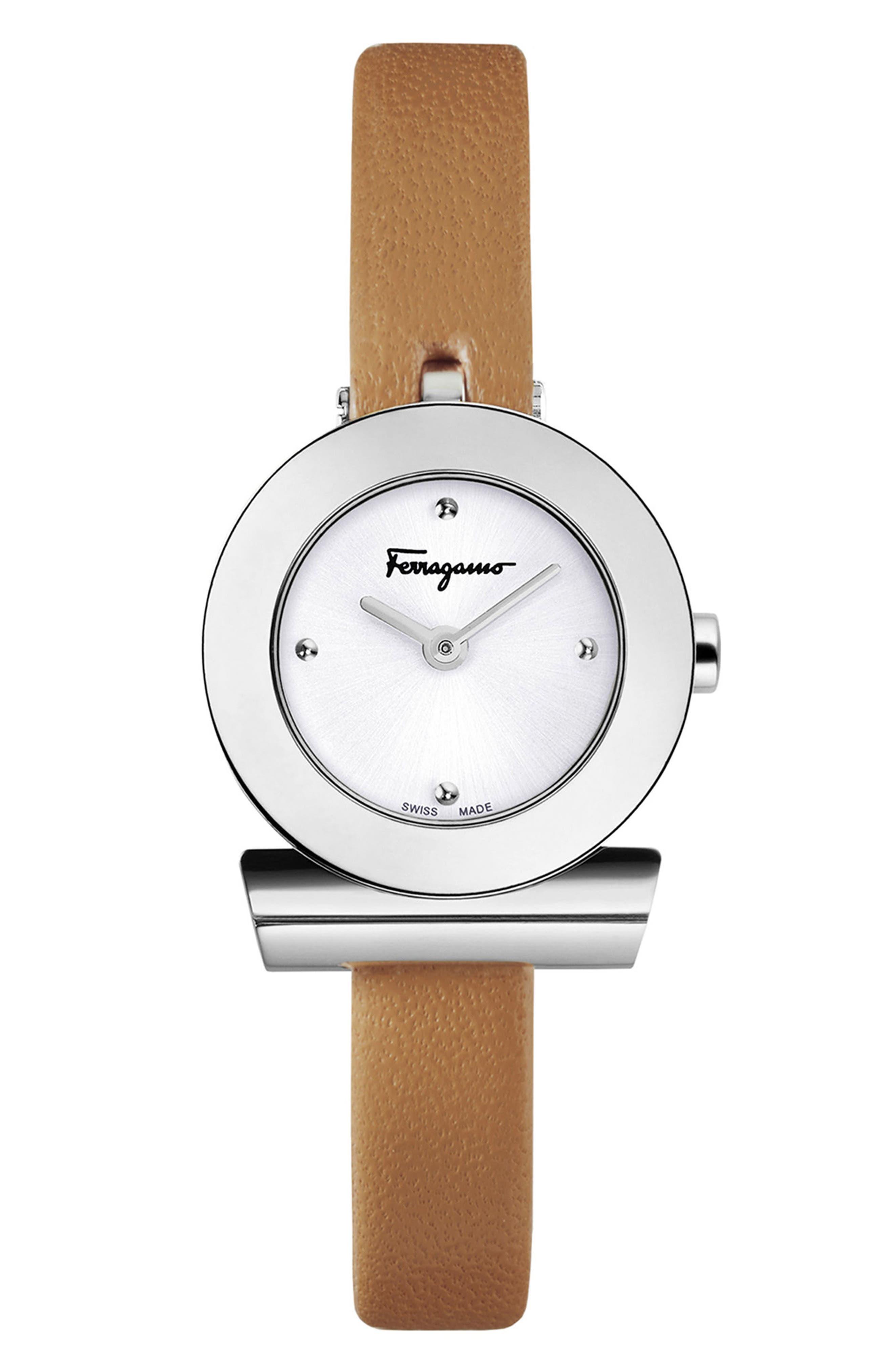 Salvatore Ferragamo Gancino Leather Bracelet Watch, 22mm