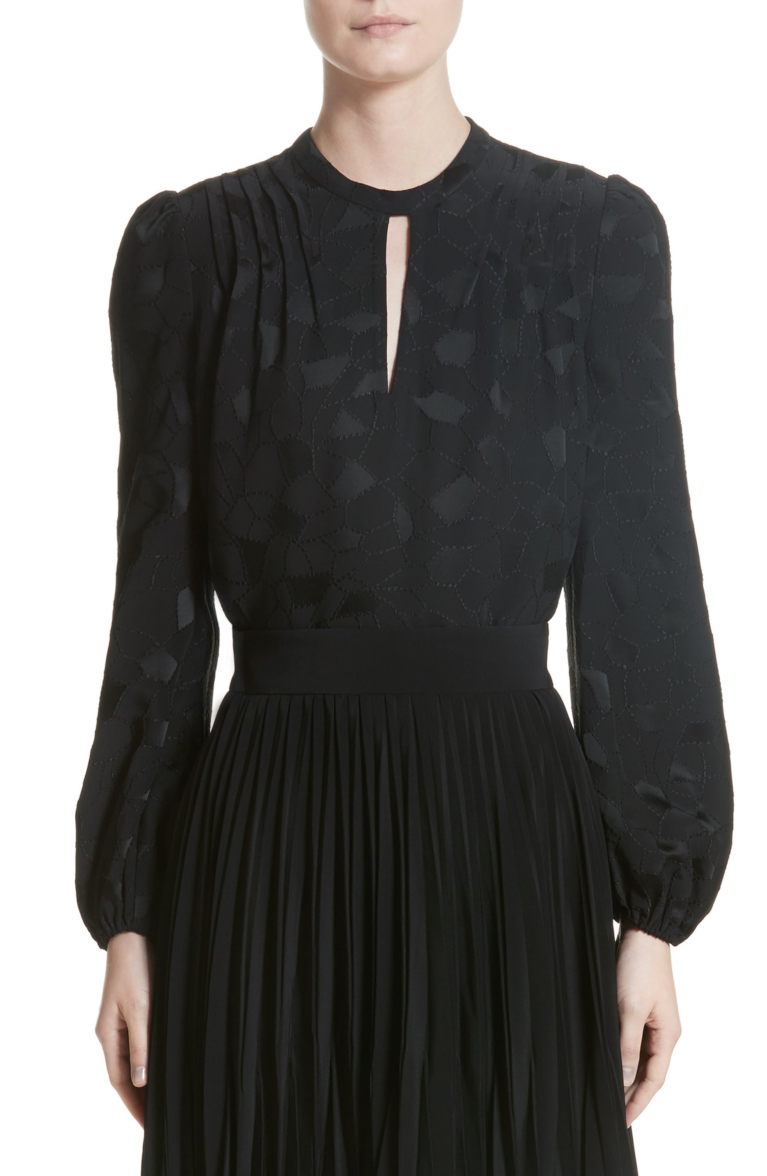 Mosaic Jacquard Puff Sleeve Blouse,                         Main,                         color, Black