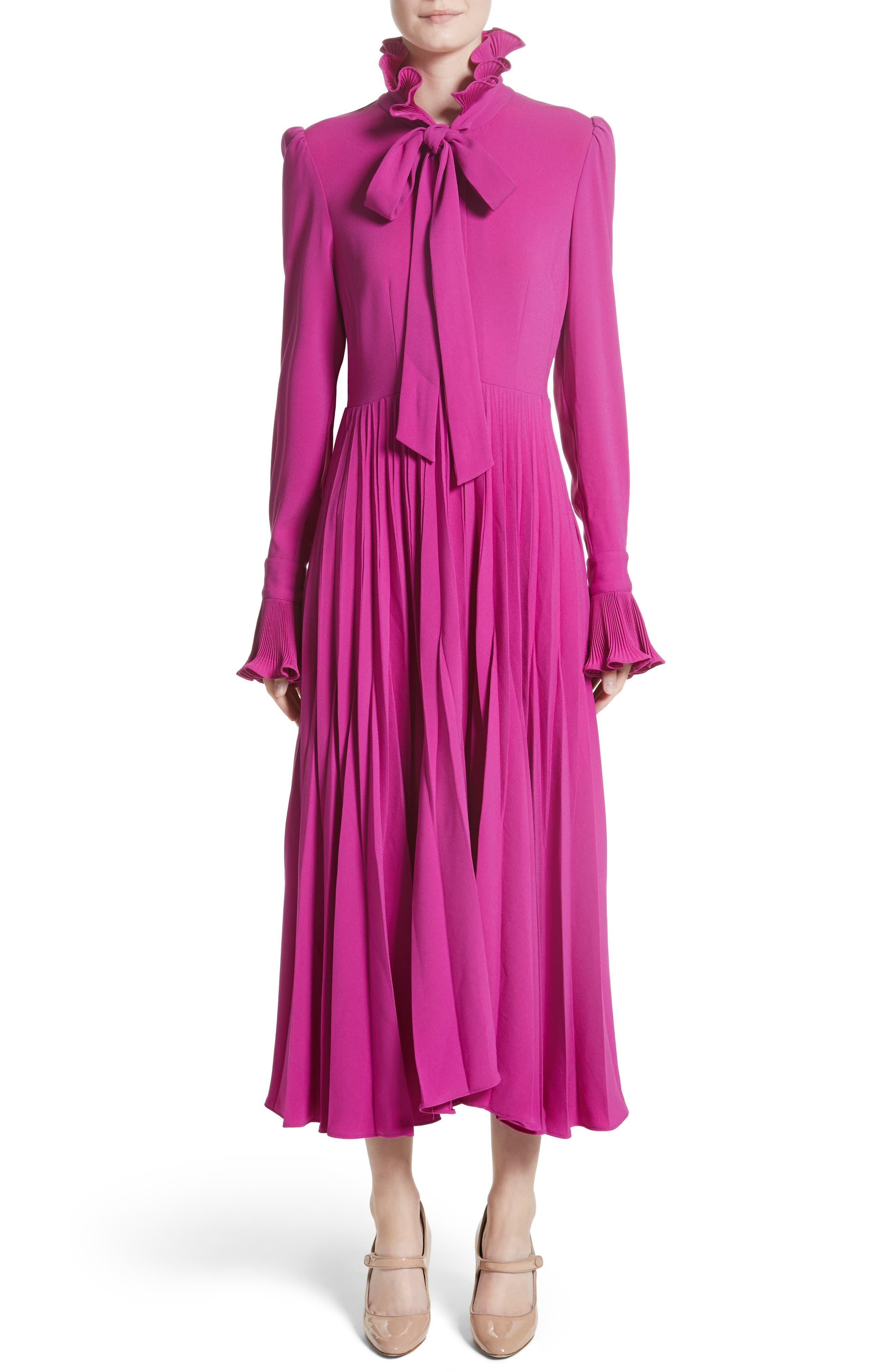 Ruffle & Pleated Midi Dress,                         Main,                         color, Magenta