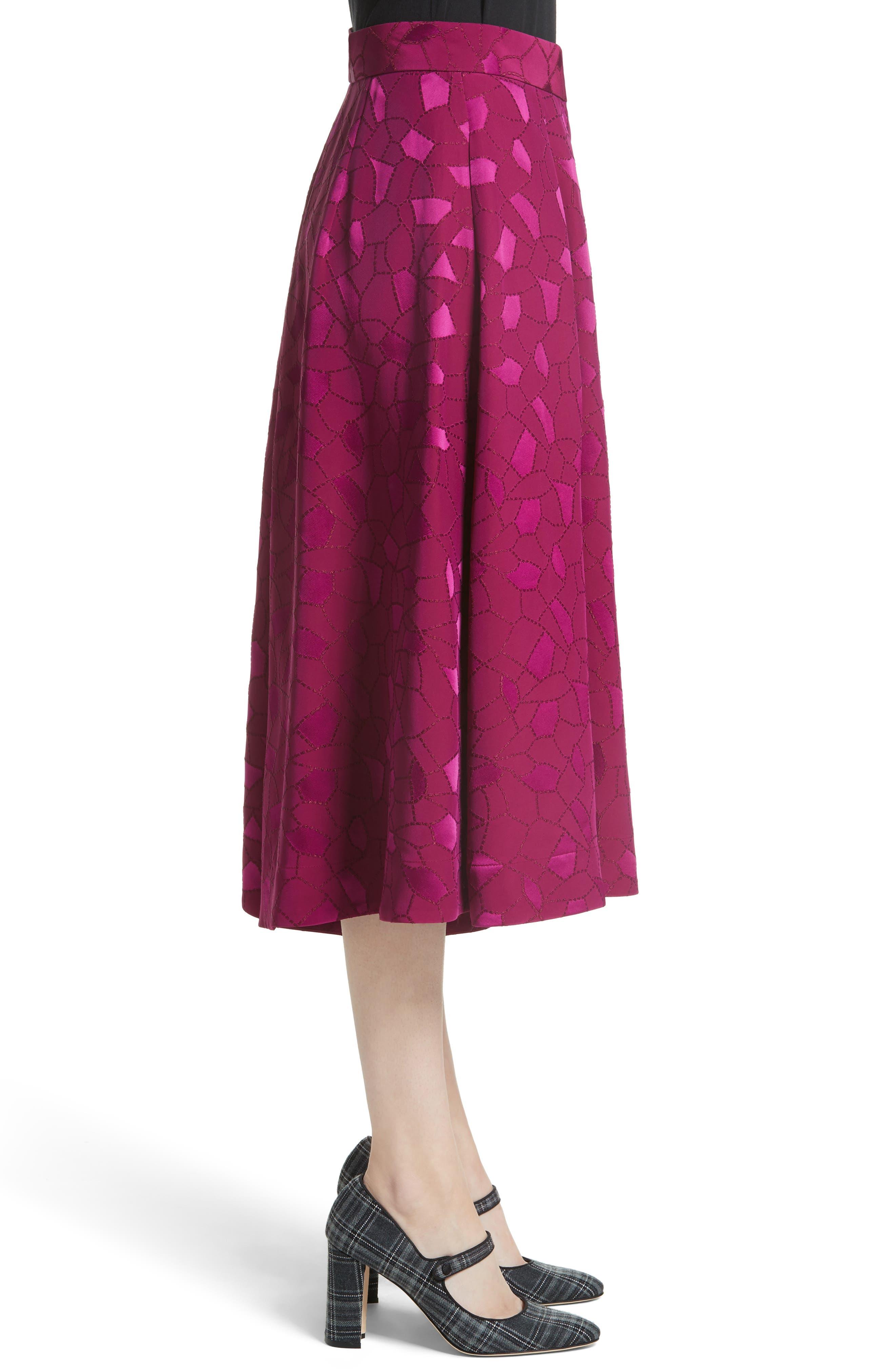 Mosaic Jacquard Midi Skirt,                             Alternate thumbnail 3, color,                             Pink