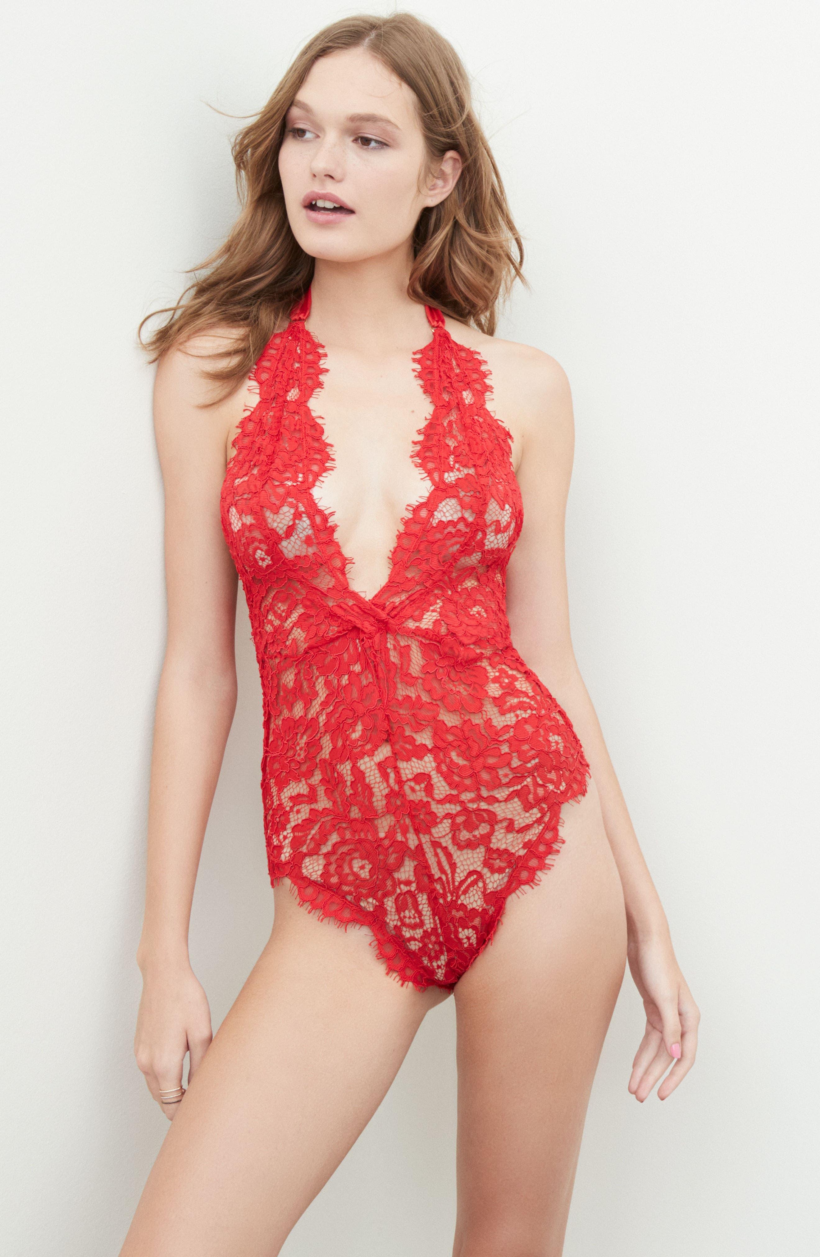 Natalia Lace Bodysuit,                             Alternate thumbnail 6, color,                             Red