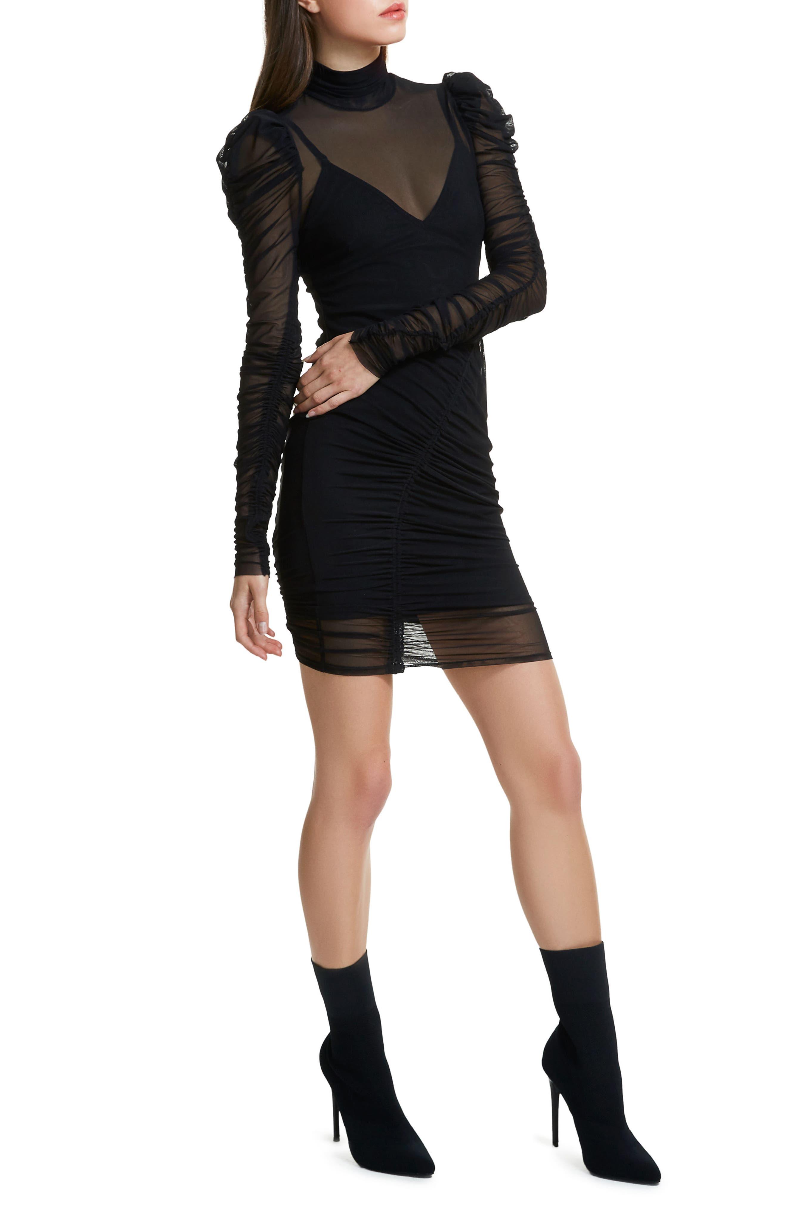 Angela Mesh Plaid Dress,                             Alternate thumbnail 3, color,                             Noir