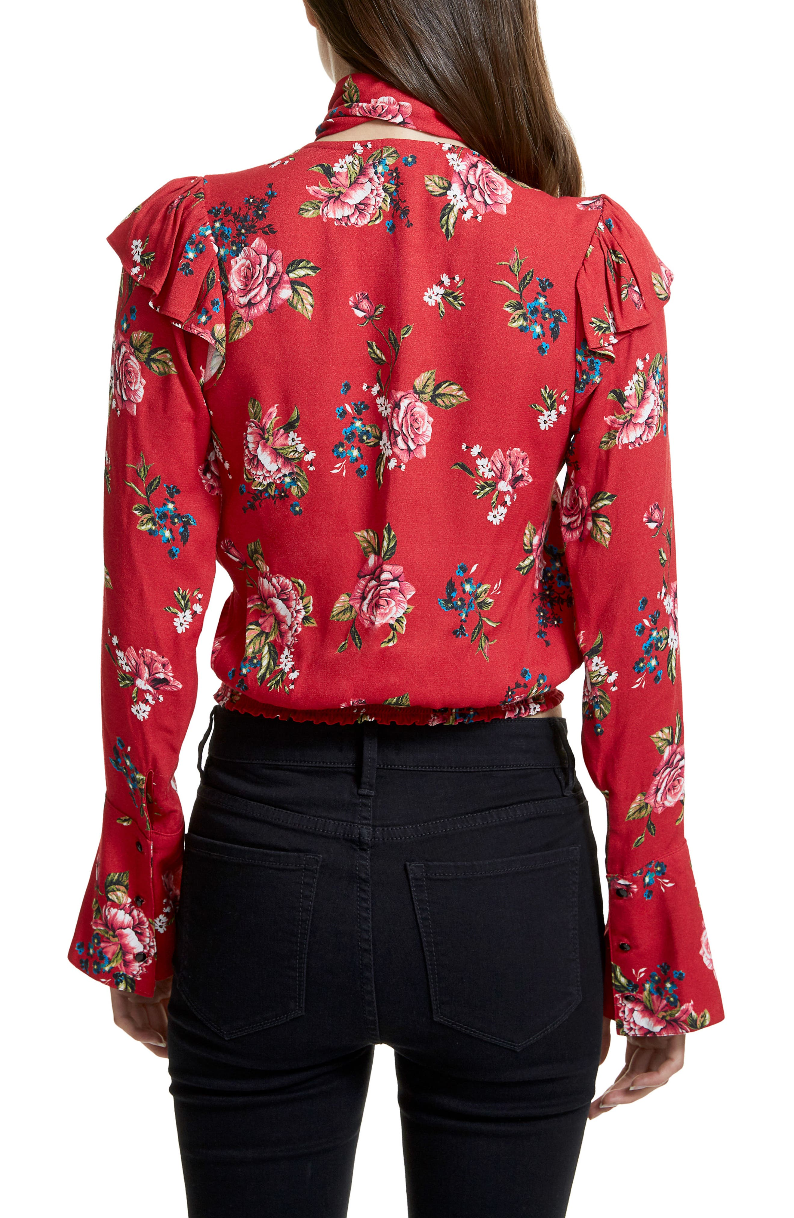 Gigi Blouse With Necktie,                             Alternate thumbnail 2, color,                             Red Rose